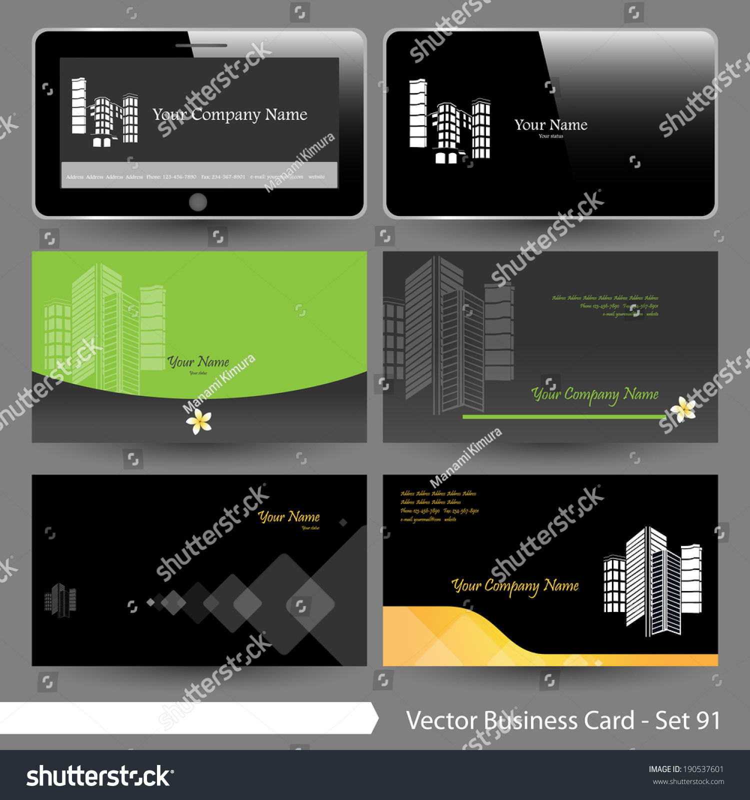 Vector Business Card Template Set Real Stock Vector 190537601 ...