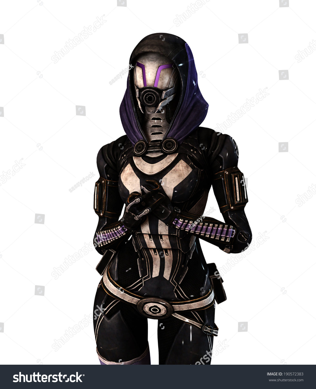Sexy woman wearing gas mask on white isolated background