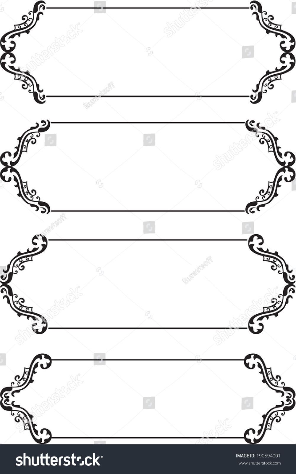 set boarders on white stock vector royalty free 190594001