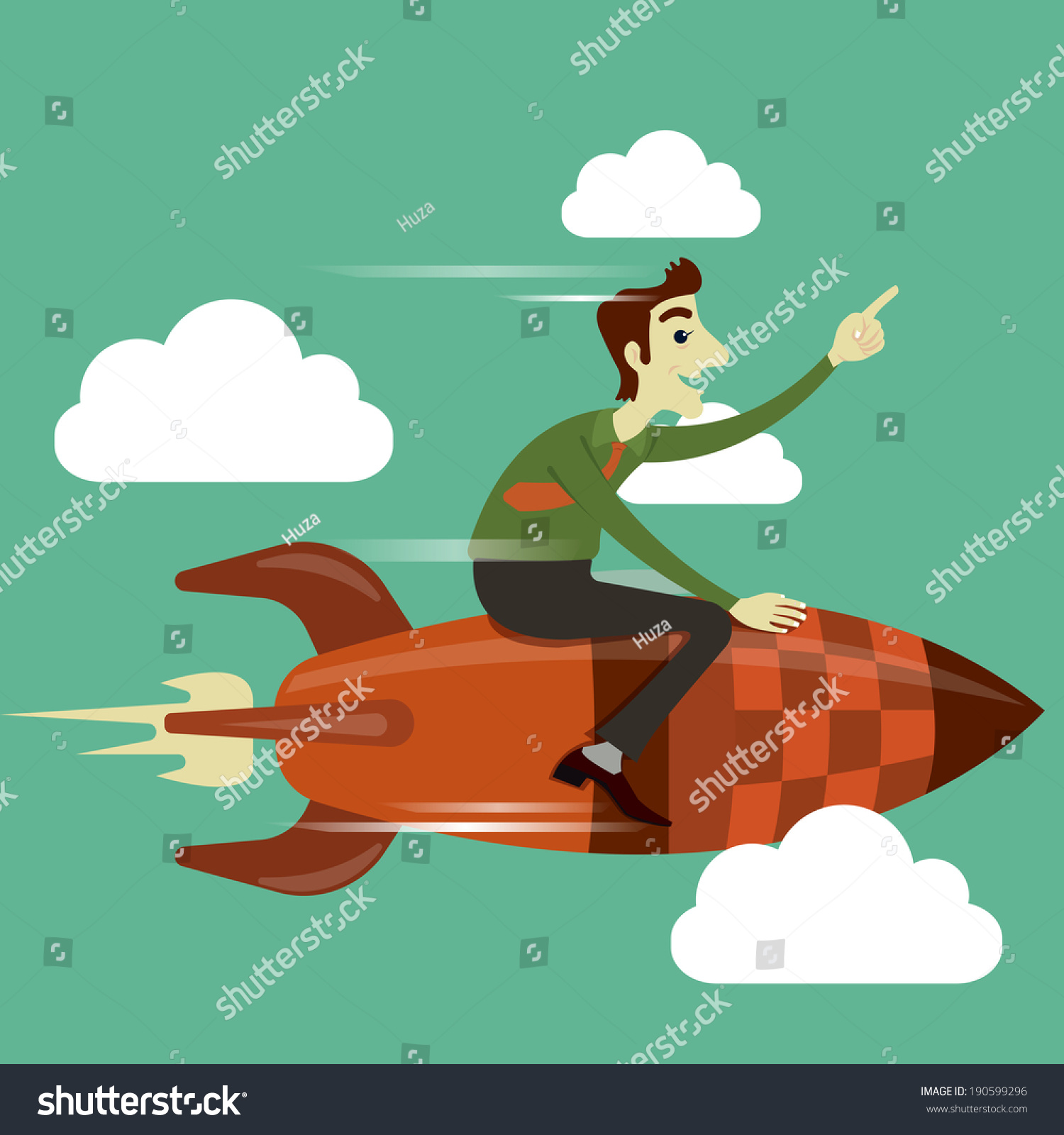 Businessman Riding On Rocket Flying In The Sky, Business