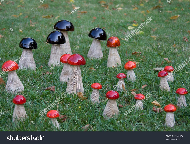 Garden Decor Group Wooden Mushrooms Grass Stock Photo (Royalty Free ...