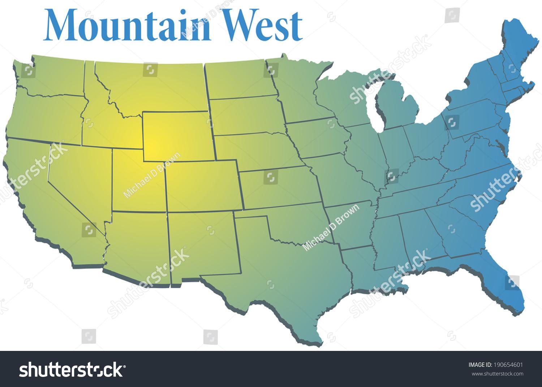 Sunny Spotlight Shines On Map States Stock Vector - West us region map