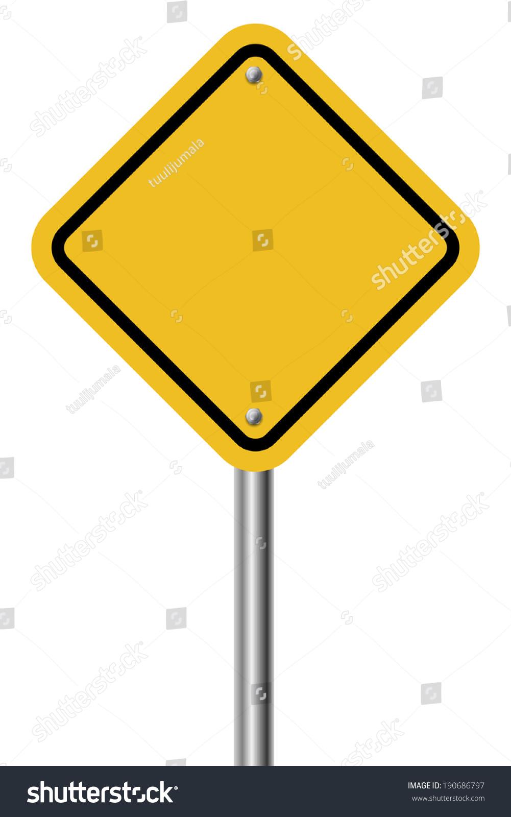 Blank Diamond Shaped Warning Yellow Sign Stock Vector ...