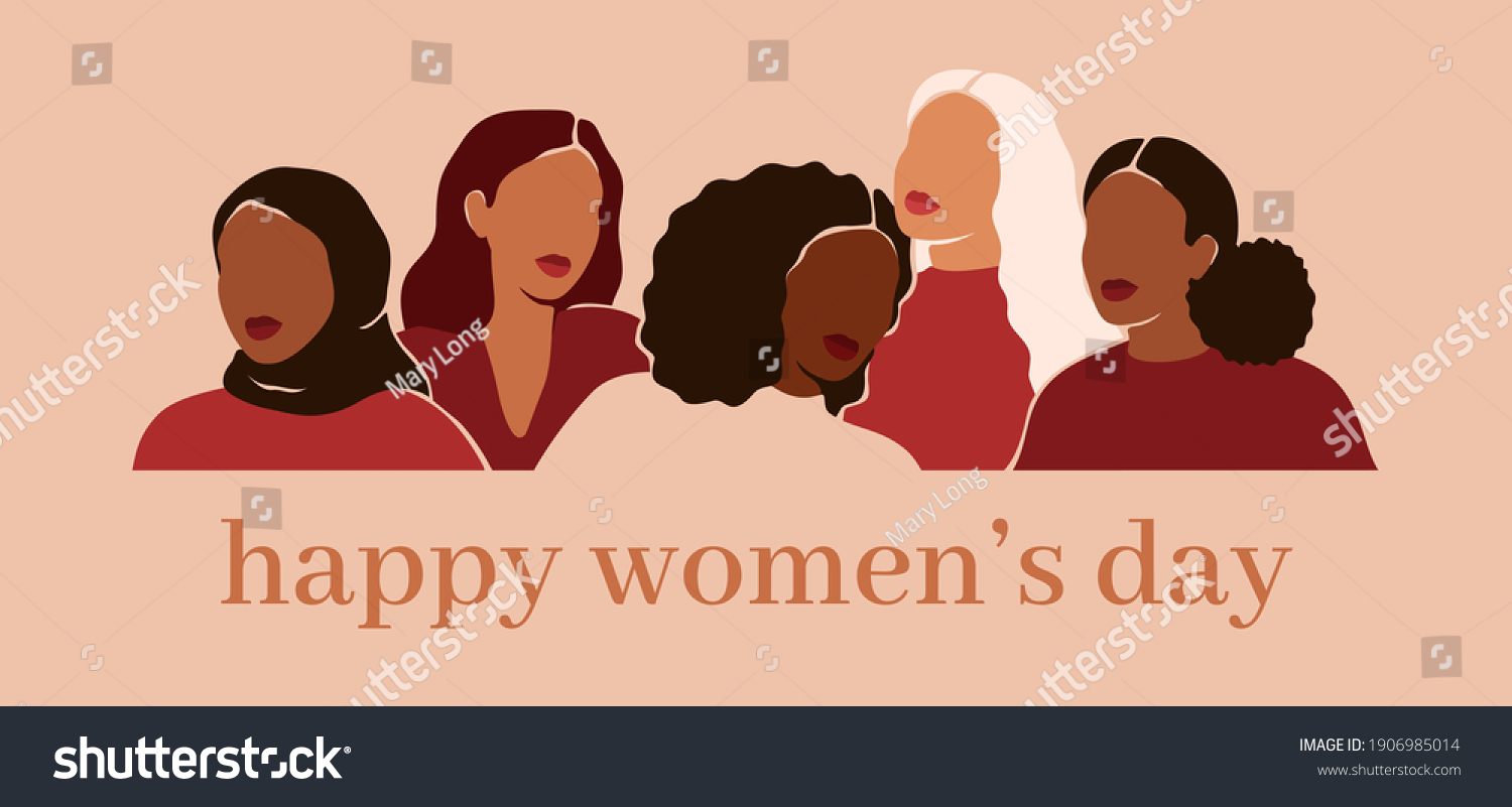 Happy women's day card with Five women of different ethnicities and cultures stand side by side together. Strong and brave girls support each other. Sisterhood and females friendship. Vector  #1906985014