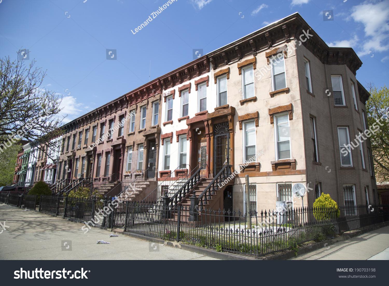New york city brownstones bedford stuyvesant stock photo for Stuyvesant ny