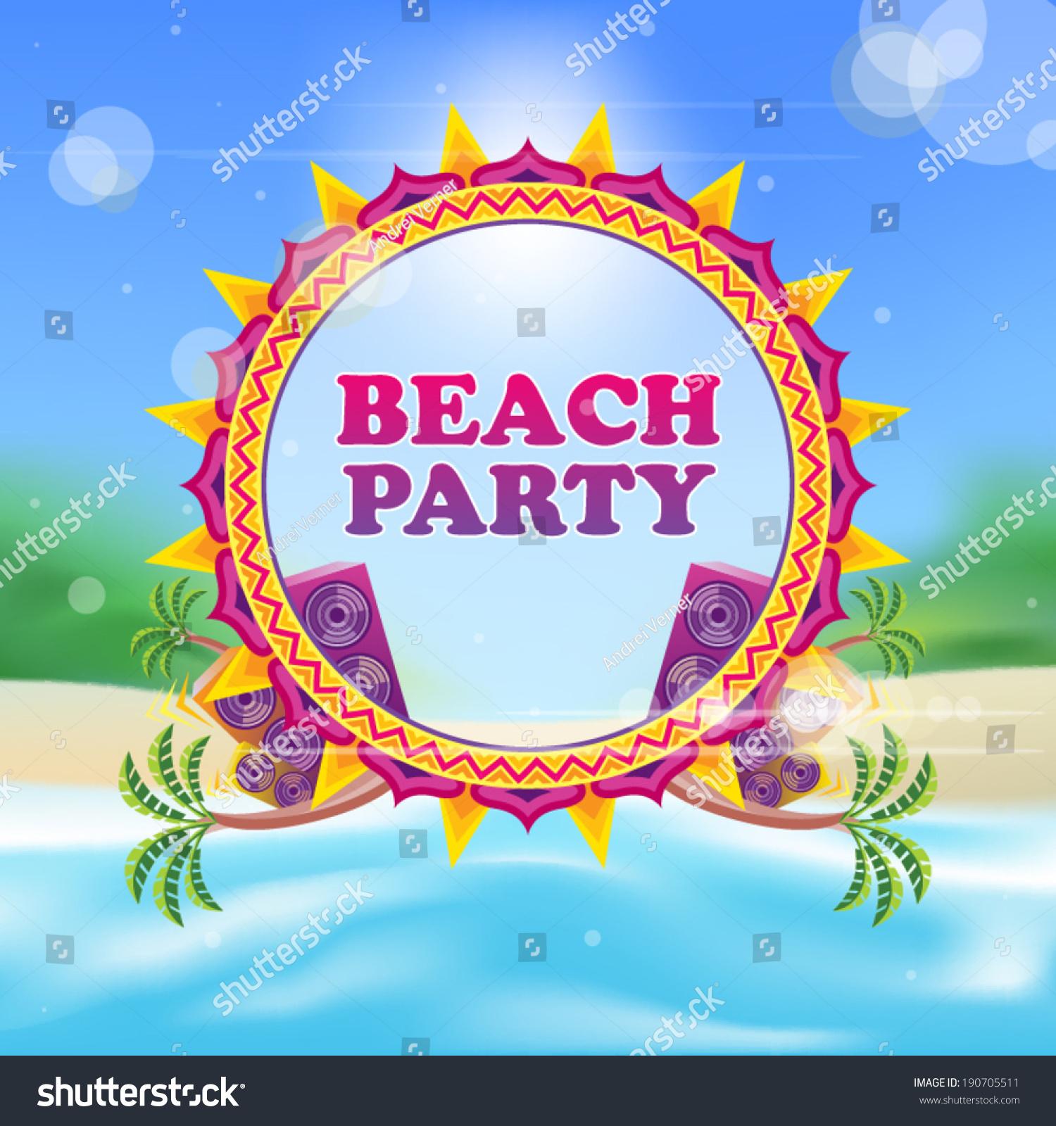 Beach Party Flyer Template Vector Illustration Stock Vector Royalty