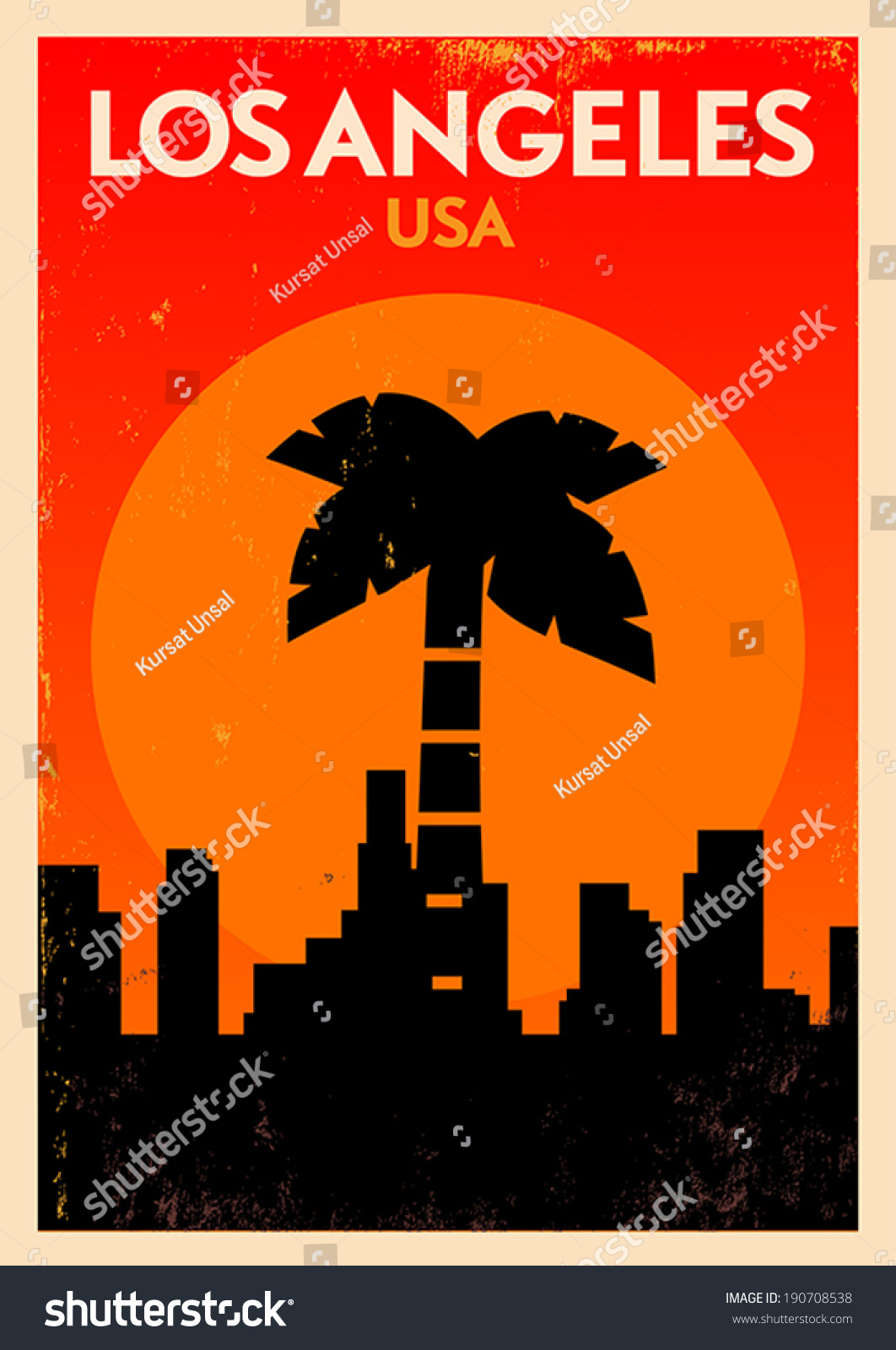 Poster design los angeles - Typographic Los Angeles City Poster Design