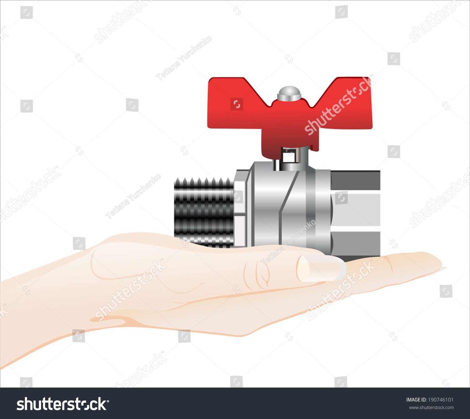 Womans Hand Holding Object Water Valve Isolated Stock Vector