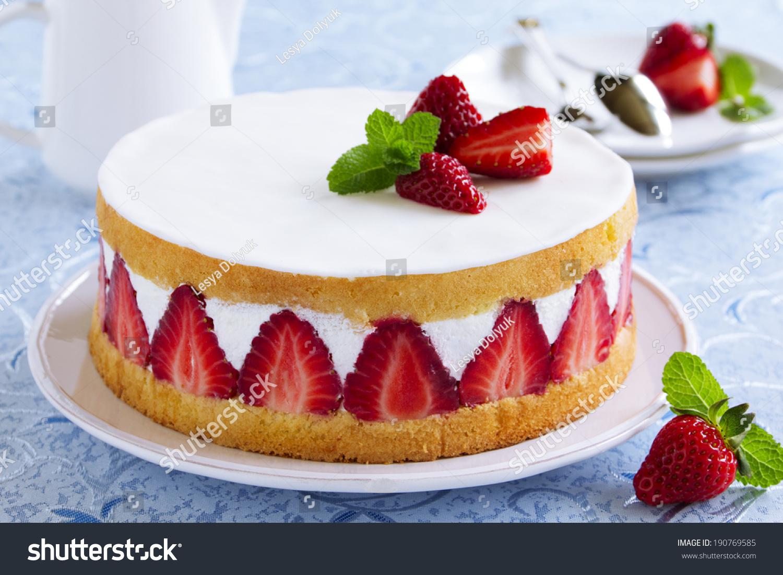 Sponge Cake Strawberries Vanilla Cream Stock Photo