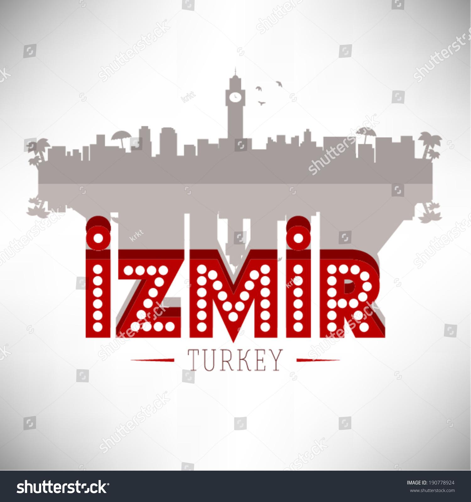 Izmir Turkey Skyline Design Vector Illustration Stock Vector Royalty Free 190778924