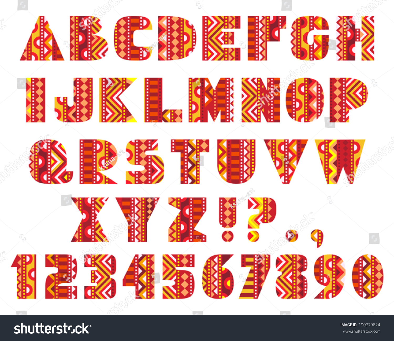 Decorative Letters Decorative Letters Set Abc Letters Abstract Stock Vector 190779824