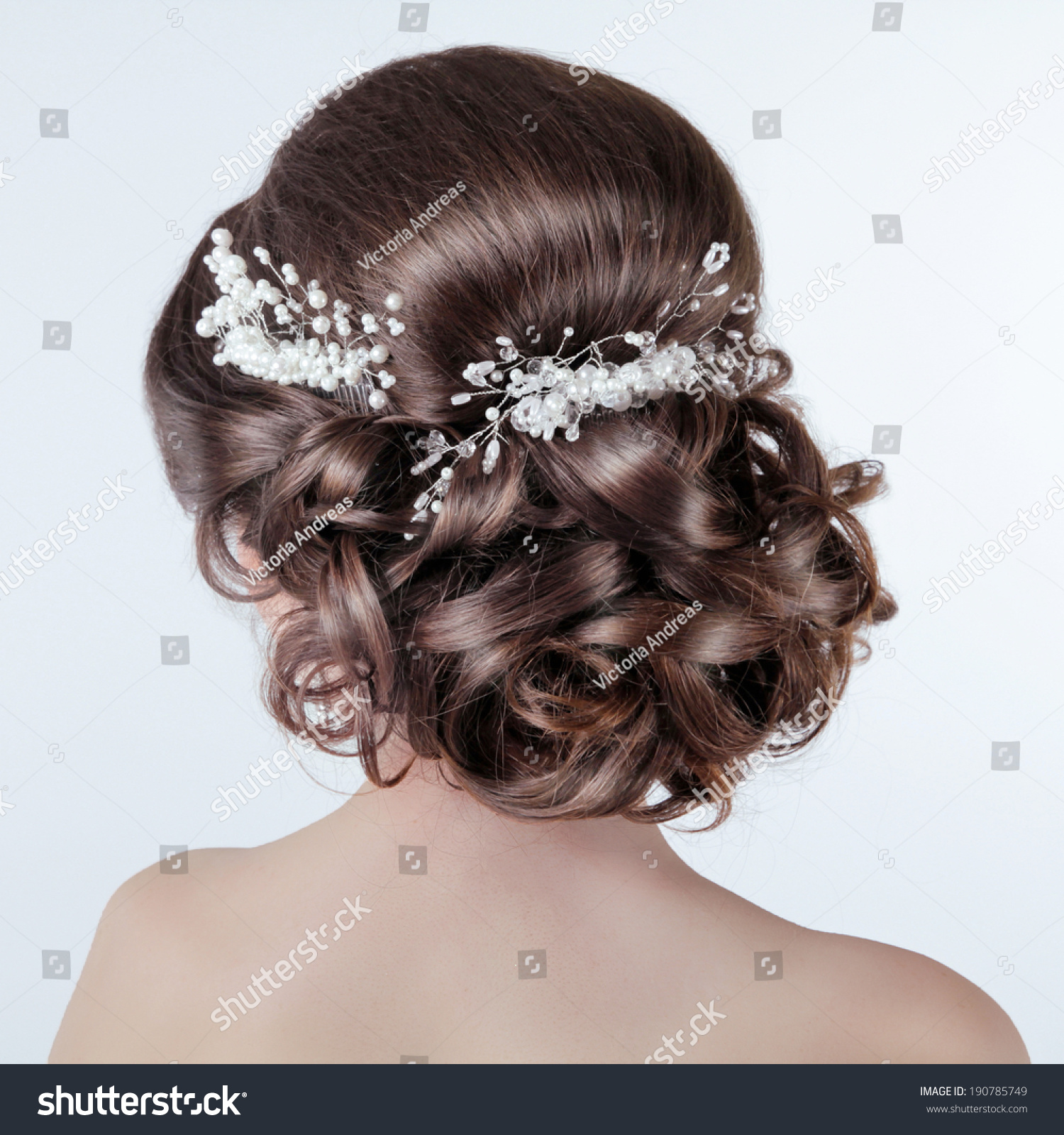 Wedding Hairstyles Brunette: Brown Hair Styling Brunette Girl Curly Stock Photo