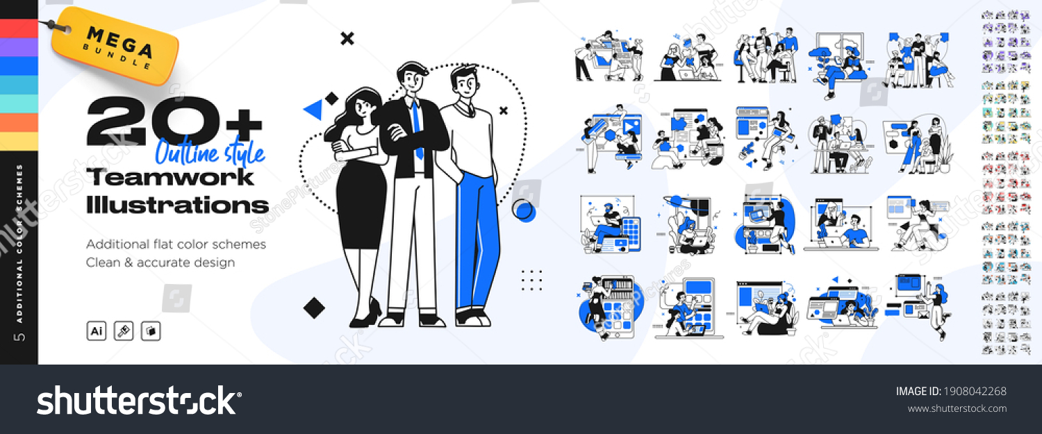 Business Teamwork illustrations. Mega set. Collection of scenes with men and women taking part in business activities. Trendy vector style #1908042268