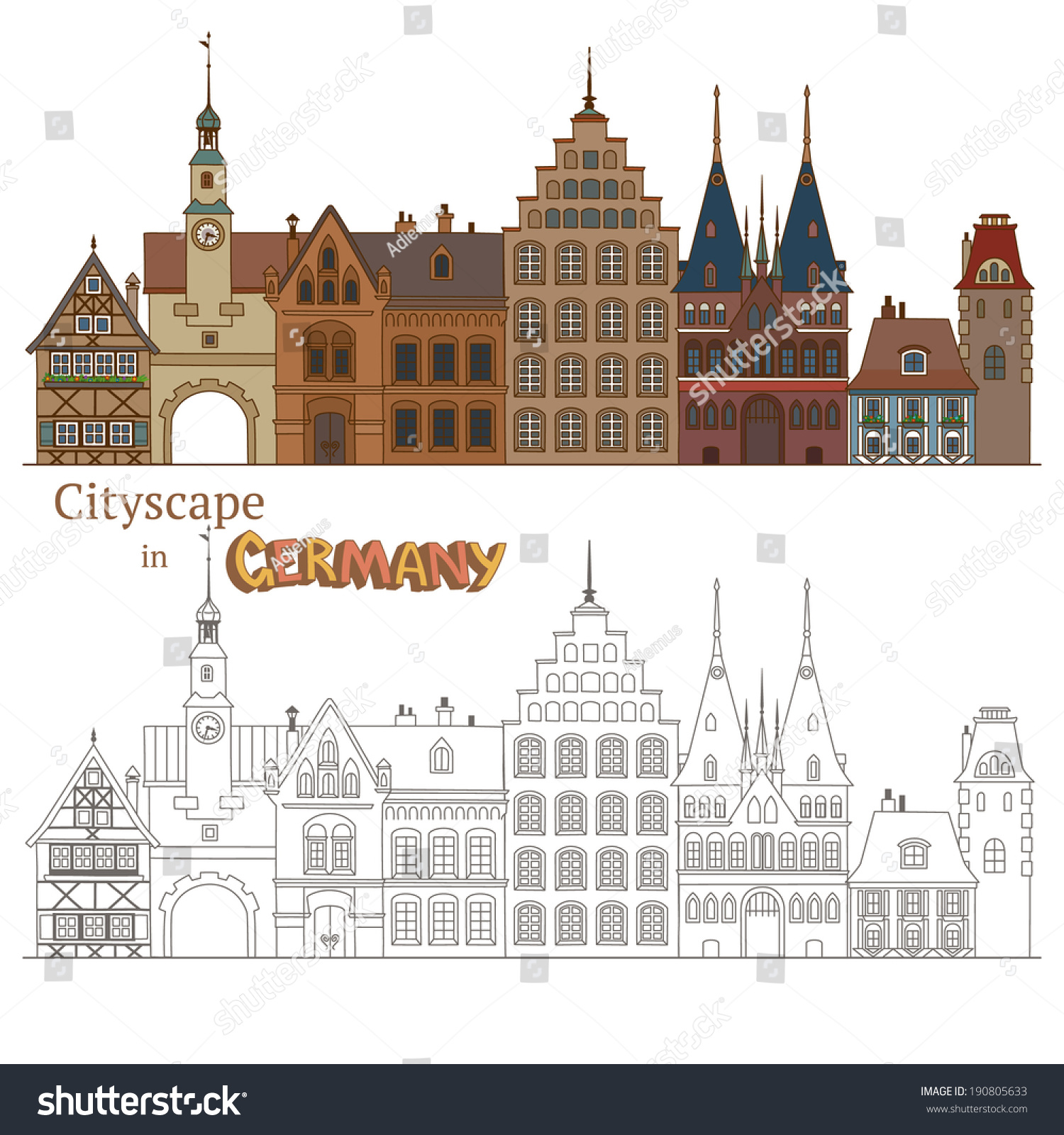 design cityscape germany typical german architecture stock vector 190805633 shutterstock. Black Bedroom Furniture Sets. Home Design Ideas