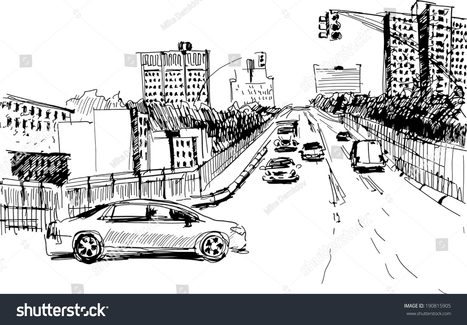 Hand Drawing Outline Perspective Road Big Stock Photo (Photo, Vector ...
