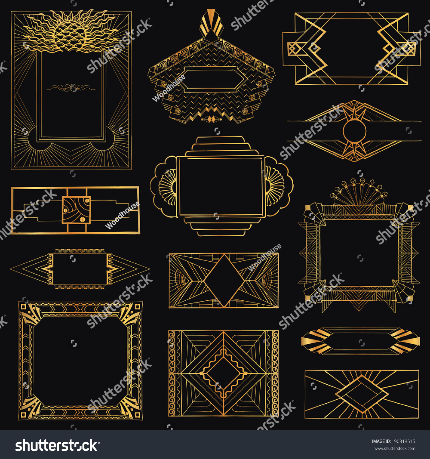 Art deco vintage frames and design elements hand drawn - Art deco design elements ...