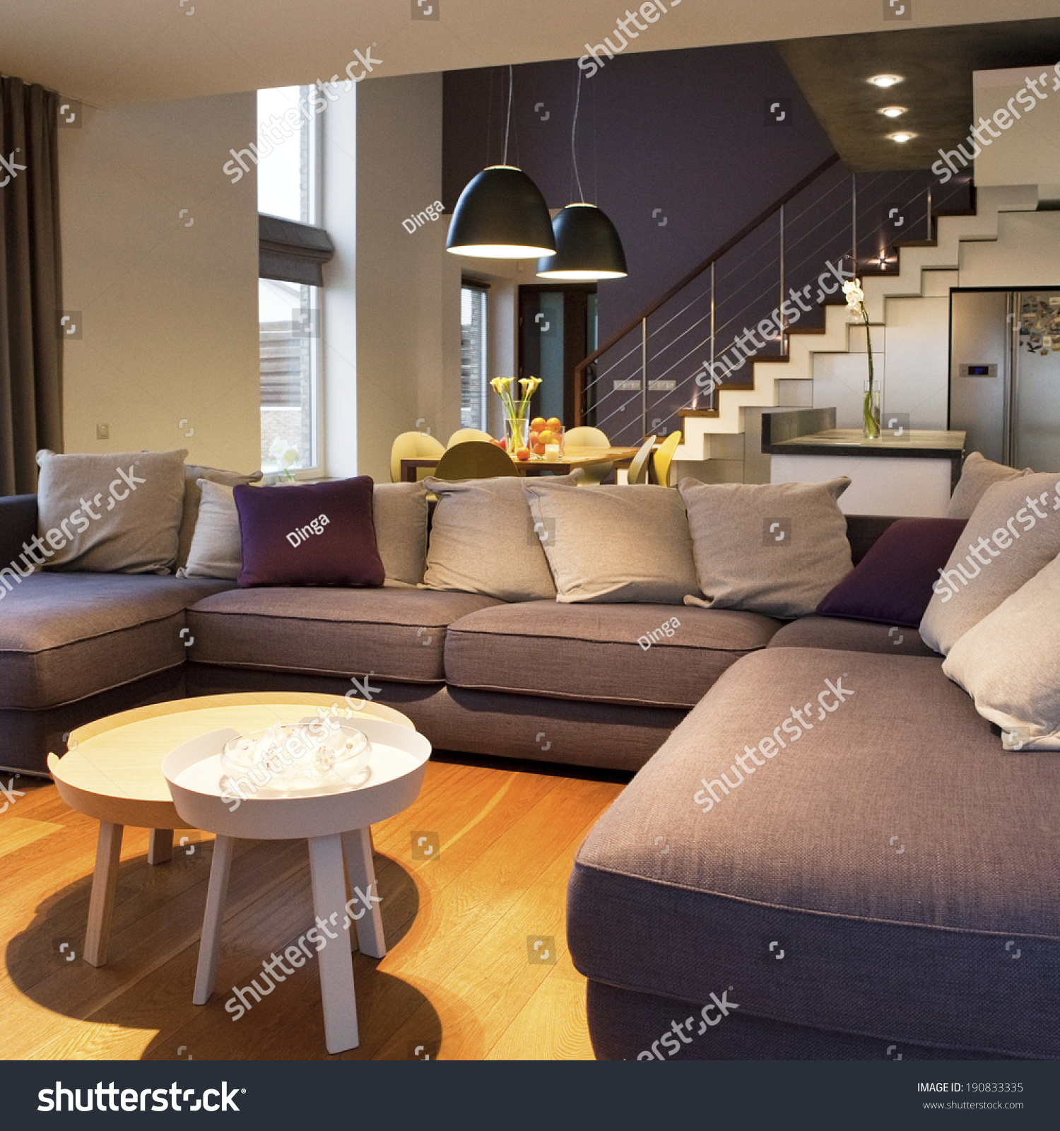 Cozy Living Room Vector Illustration: Cozy Living Room At Foreground And