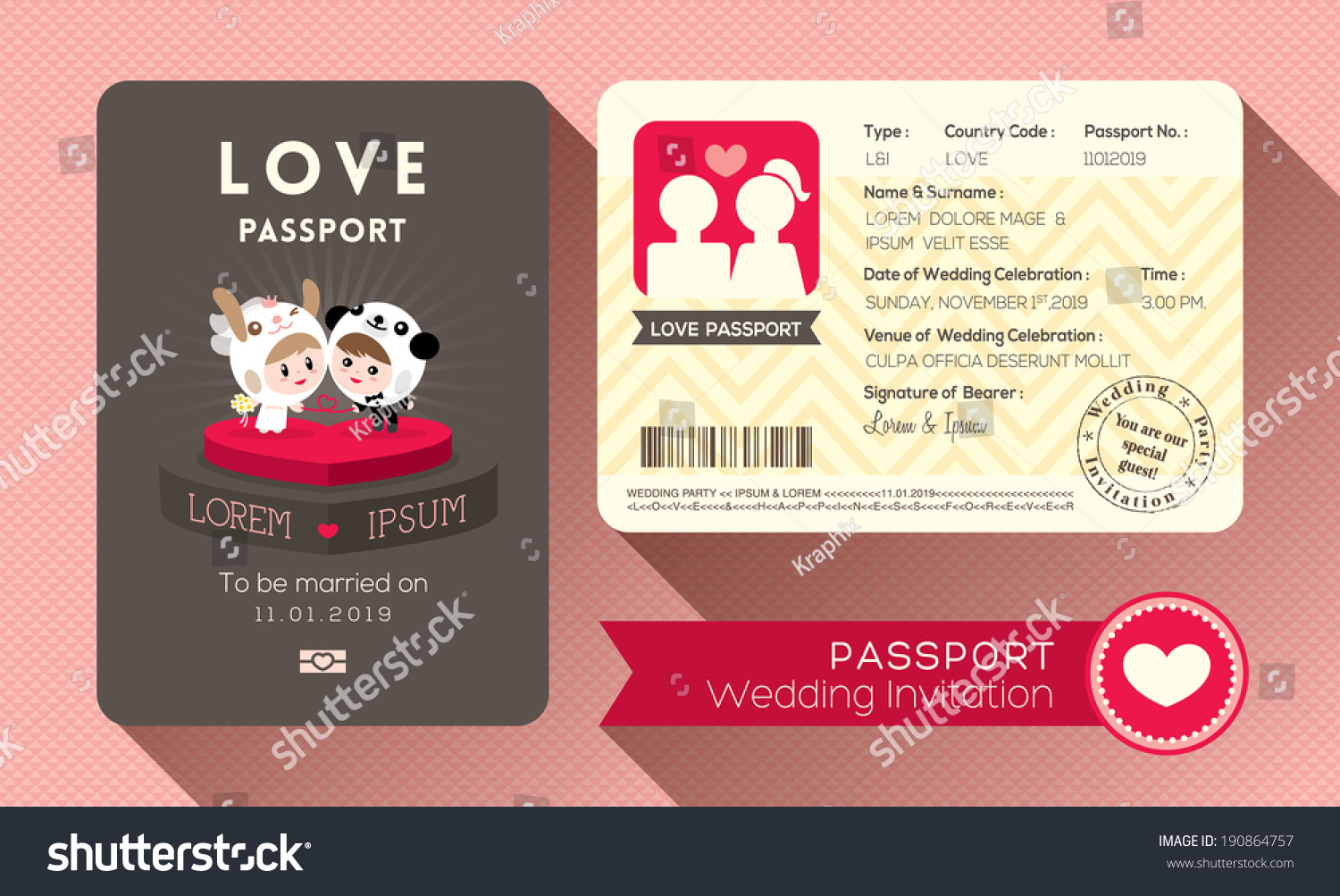 Cartoon Passport Wedding Invitation Card Design Vector De Stock