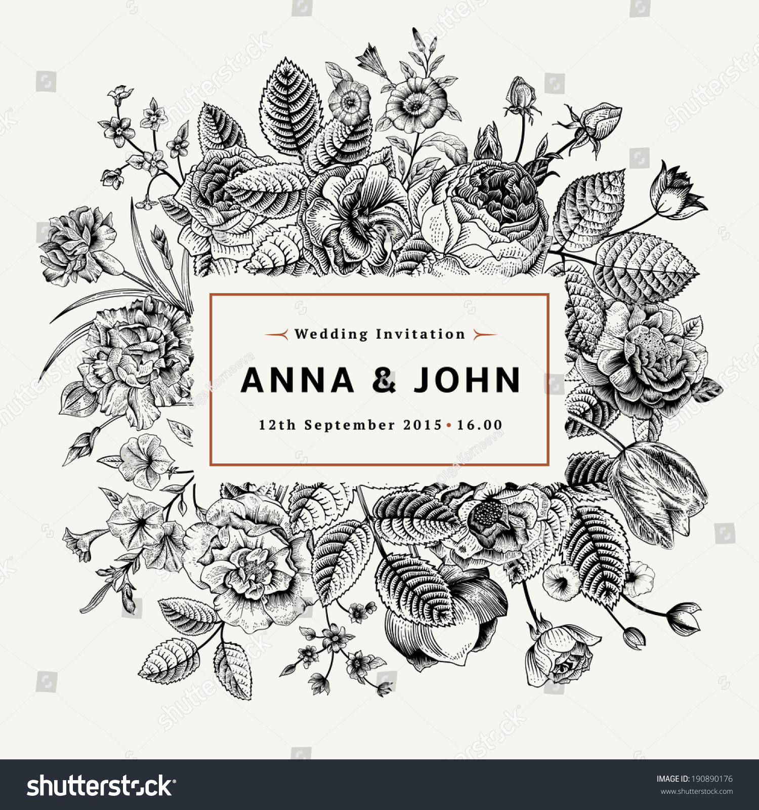 Vintage Elegant Wedding Invitation Summer Flowers Vector – Black and White Vintage Wedding Invitations