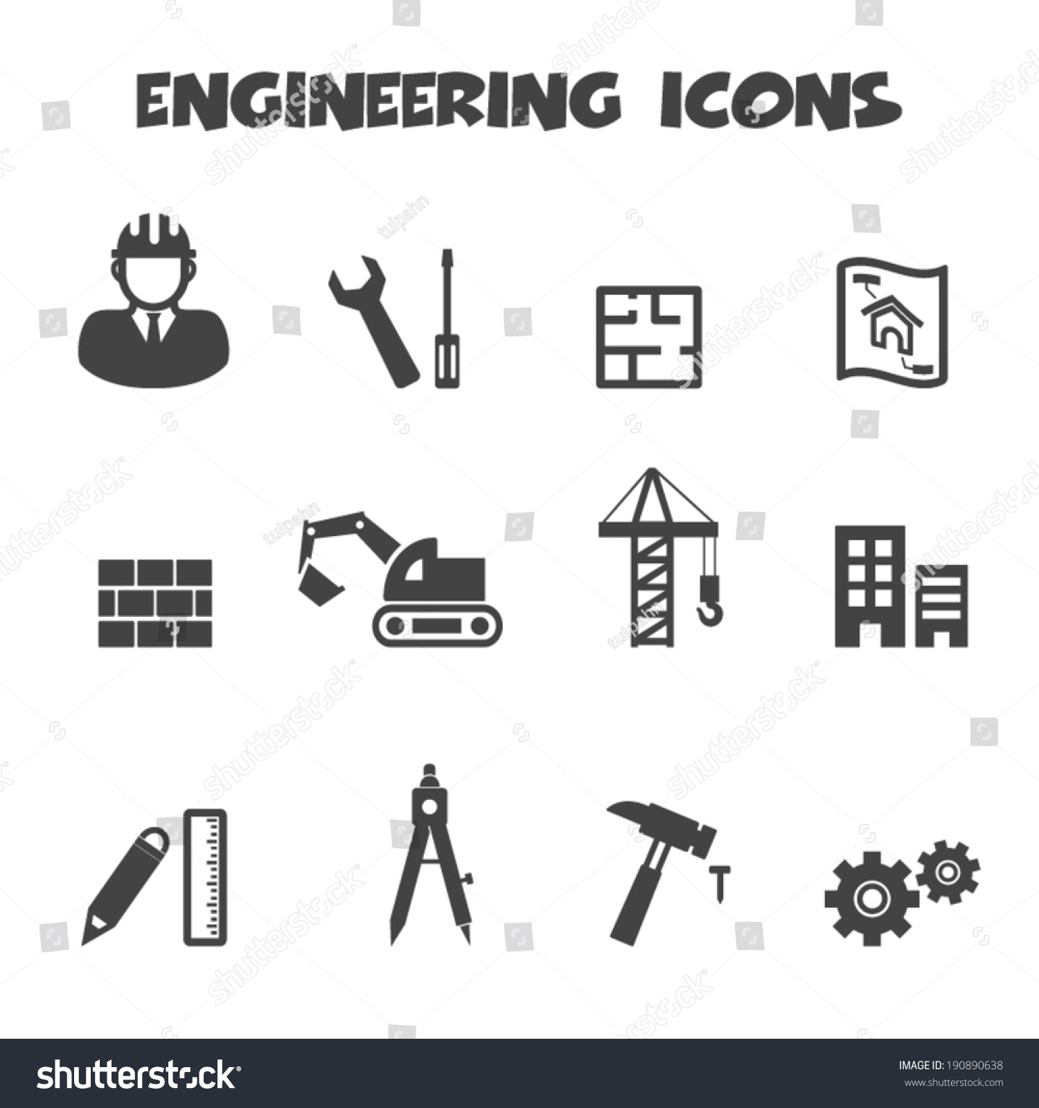 Wrench Black Vector Engineering Icons Mono...