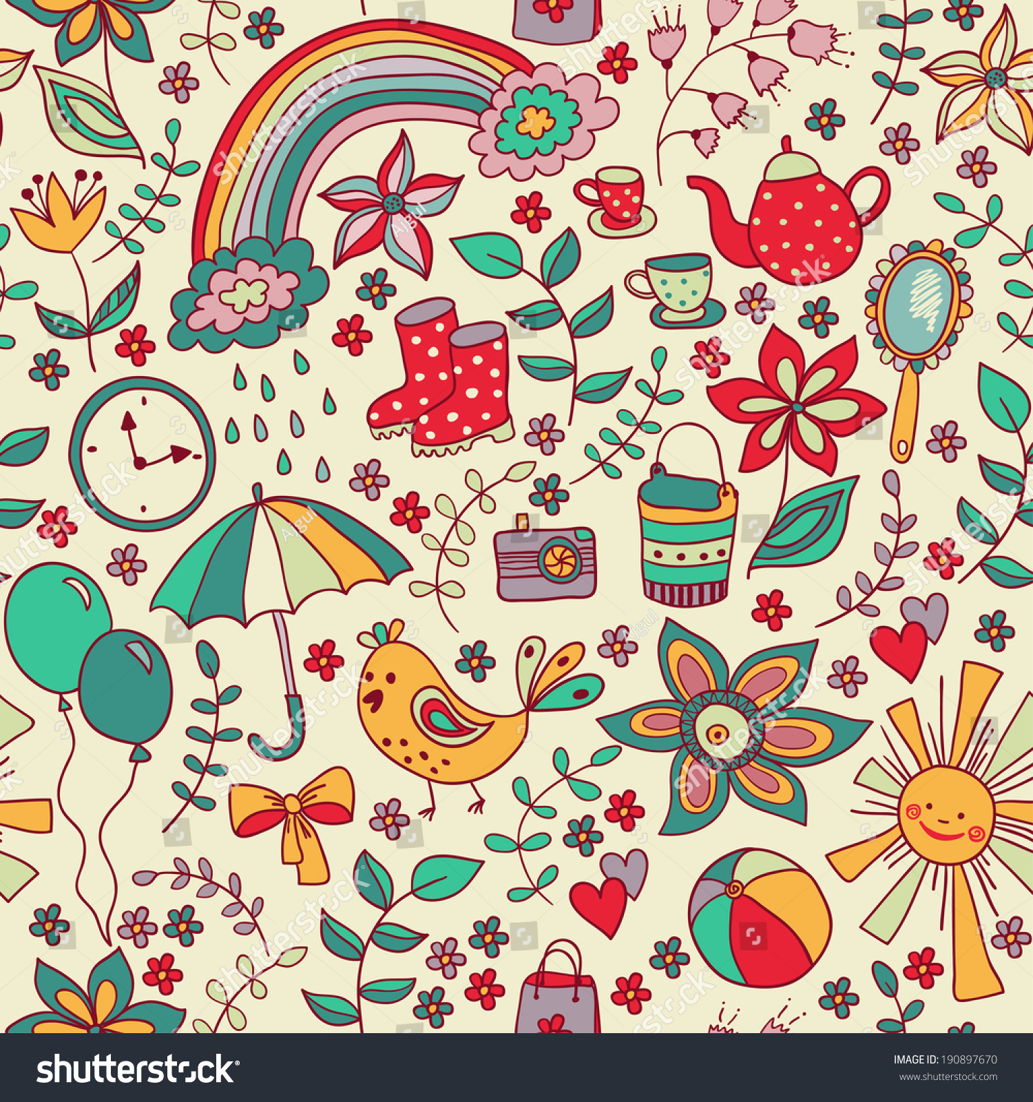 Cute Doodle Seamless Pattern Childish Style Stock Vector ...