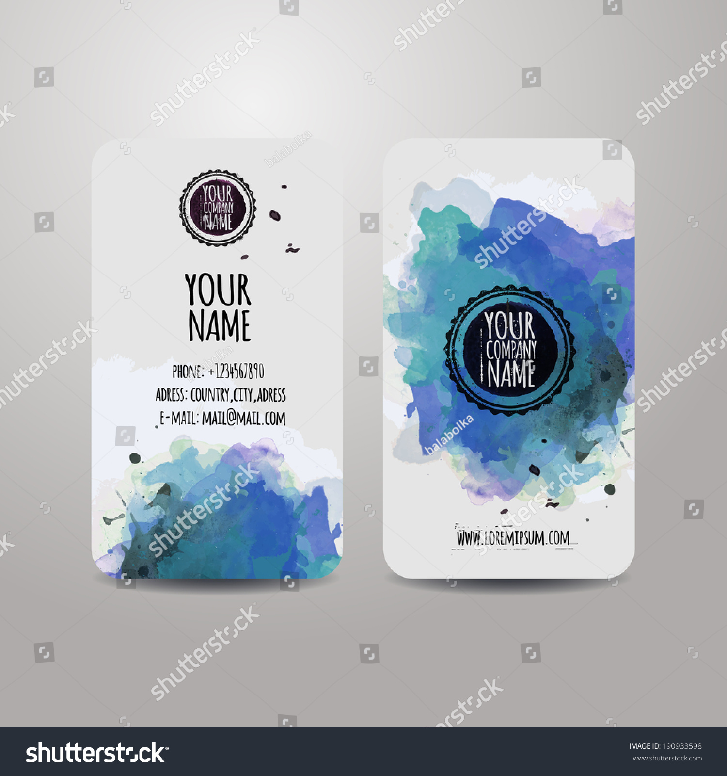Vector template business cards with watercolor paint for Watercolor painting templates free