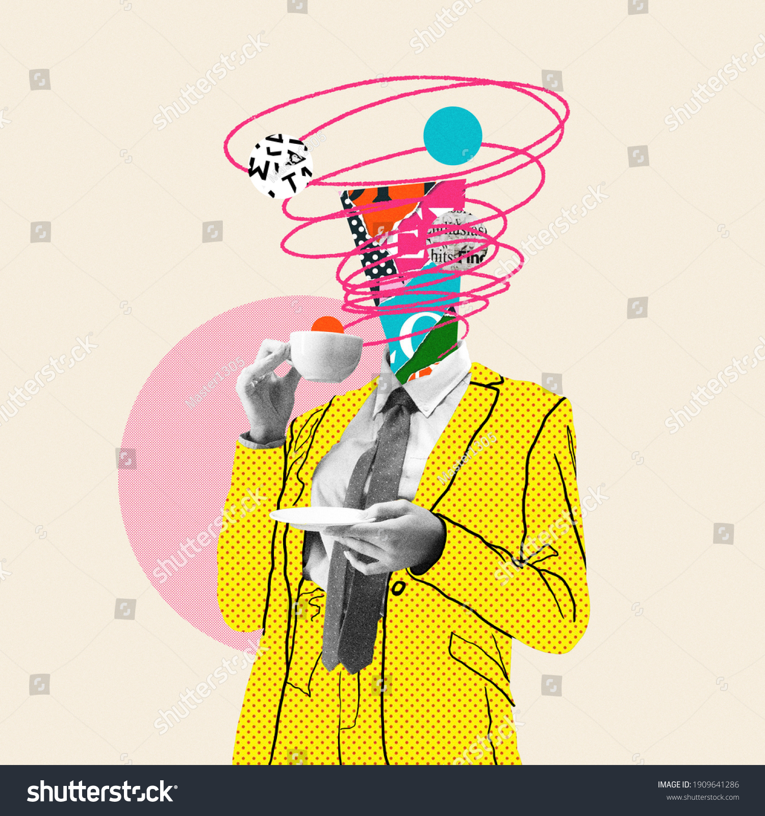 Morning coffee makes things better. Comics styled yellow suit. Modern design, contemporary art collage. Inspiration, idea, trendy urban magazine style. Negative space to insert your text or ad. #1909641286