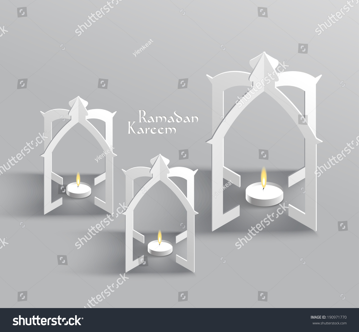 Vector 3D Muslim Paper Sculpture Oil Lamp Translation Ramadan K