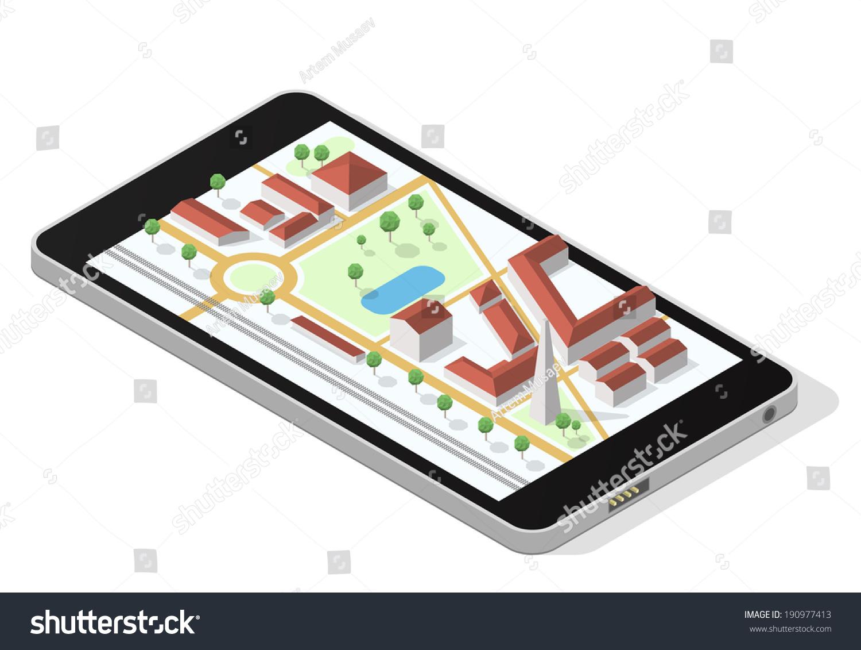 智能手机屏幕上的等距城市地图 EPS10向量概念说明