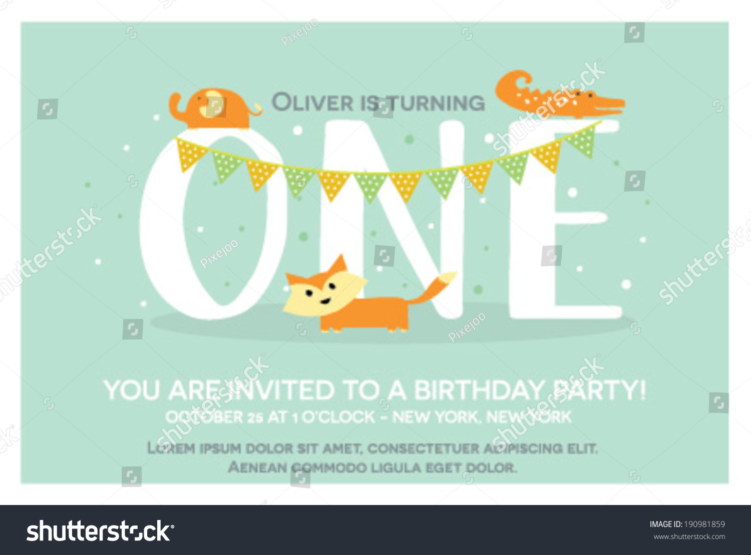 Happy Birthday Invitation Template One Year Stock Vector - One year birthday invitation template