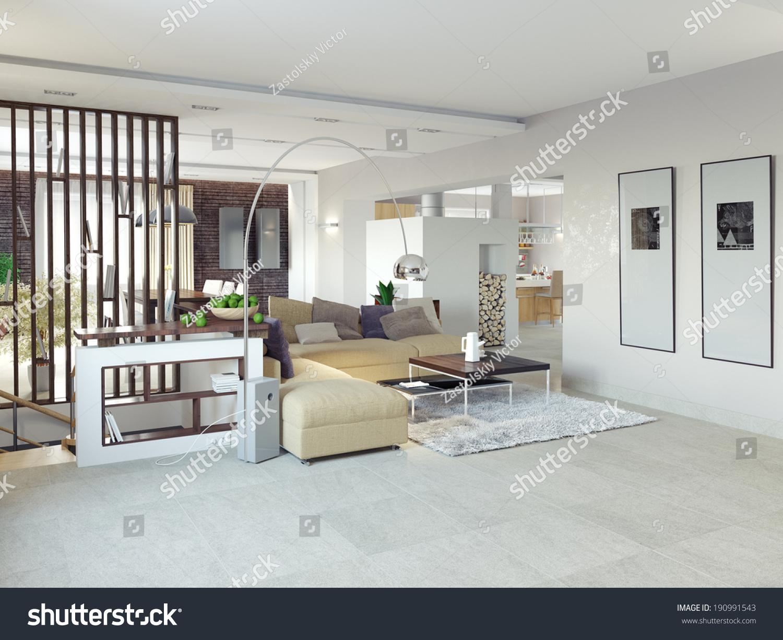 Big Comfortable Living Room 3 D Design Concept Stock Illustration ...