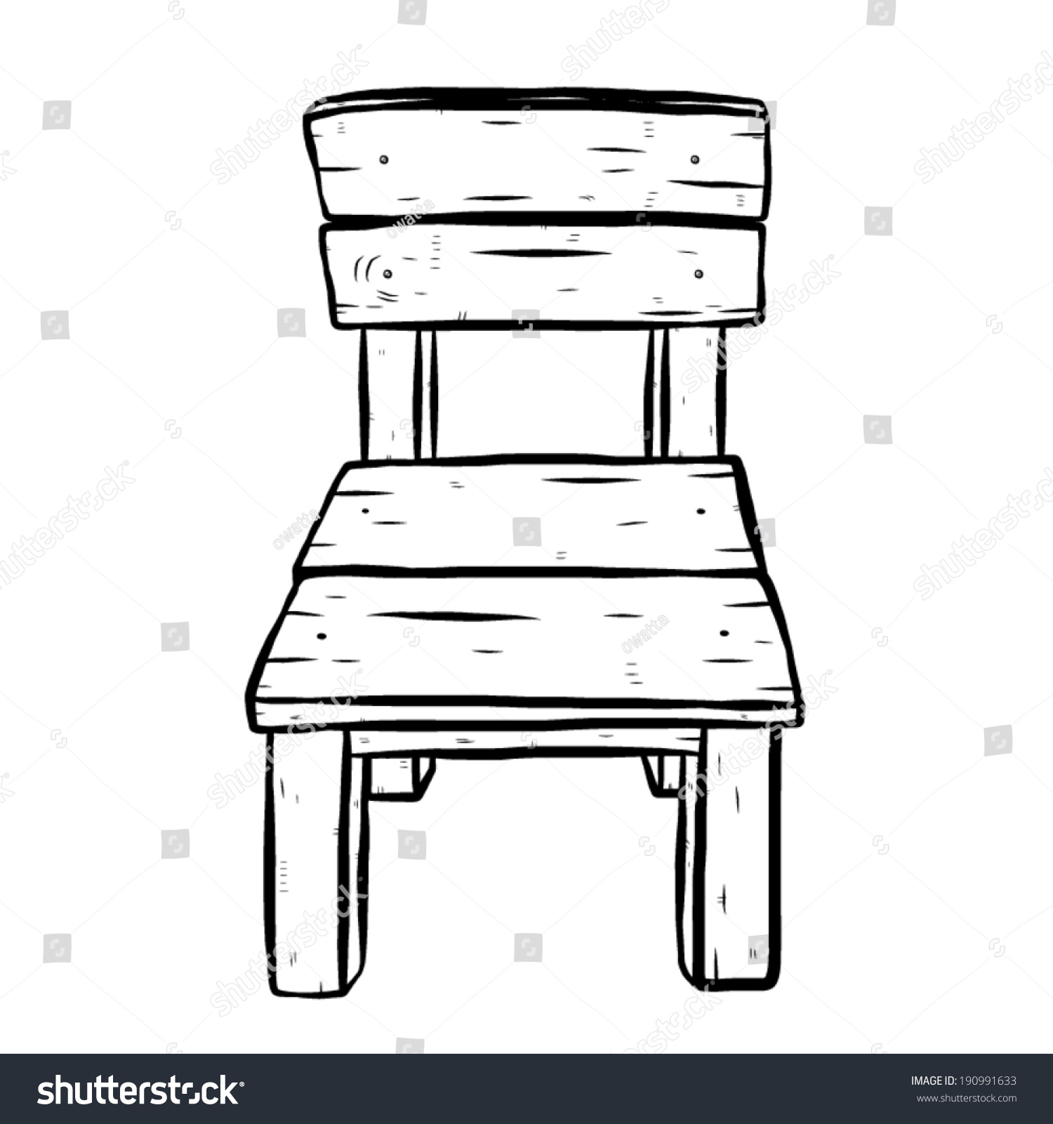 Wooden Chair / Cartoon Vector And Illustration, Black And