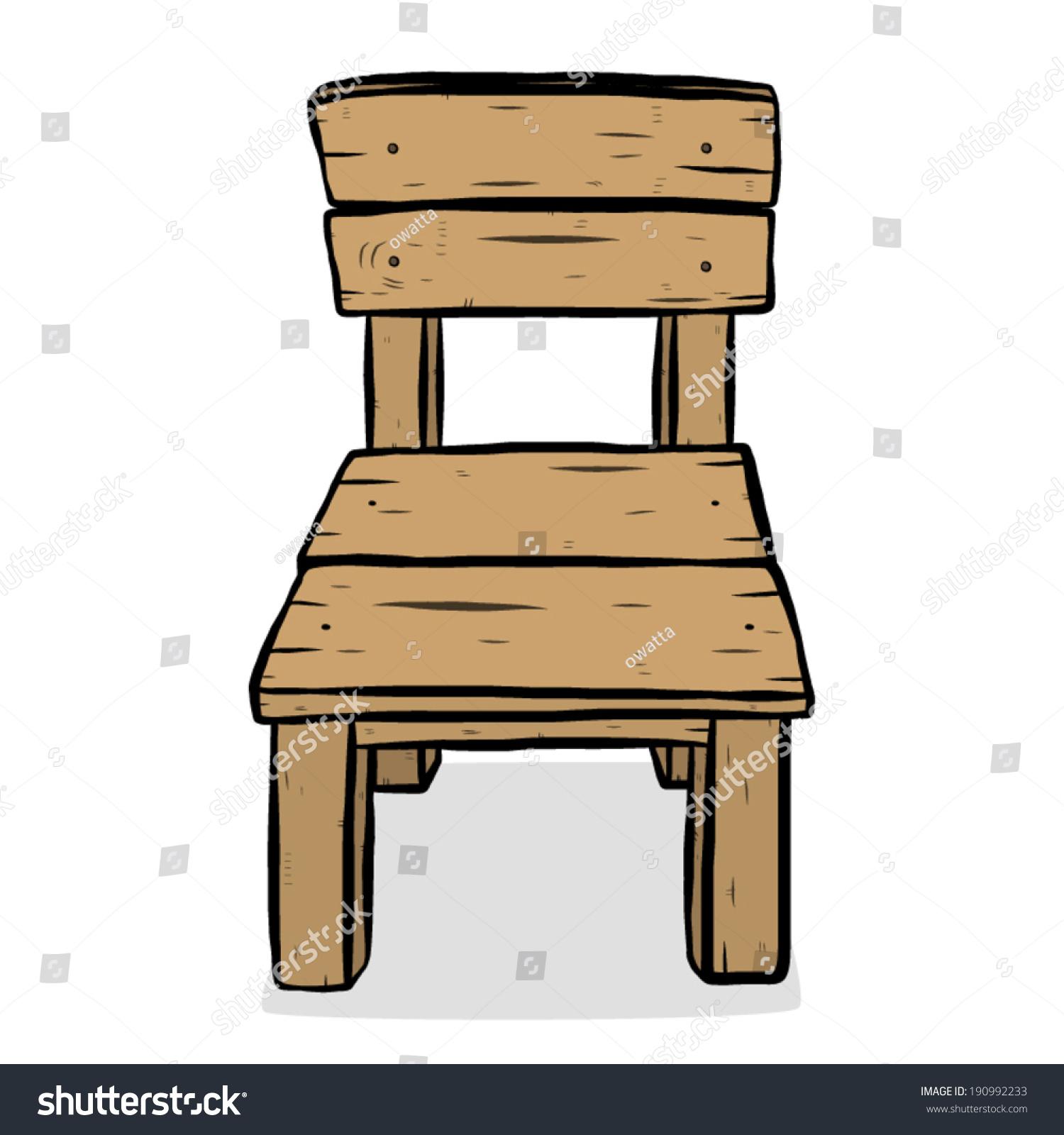 Wooden chair cartoon vector illustration hand lager vektor
