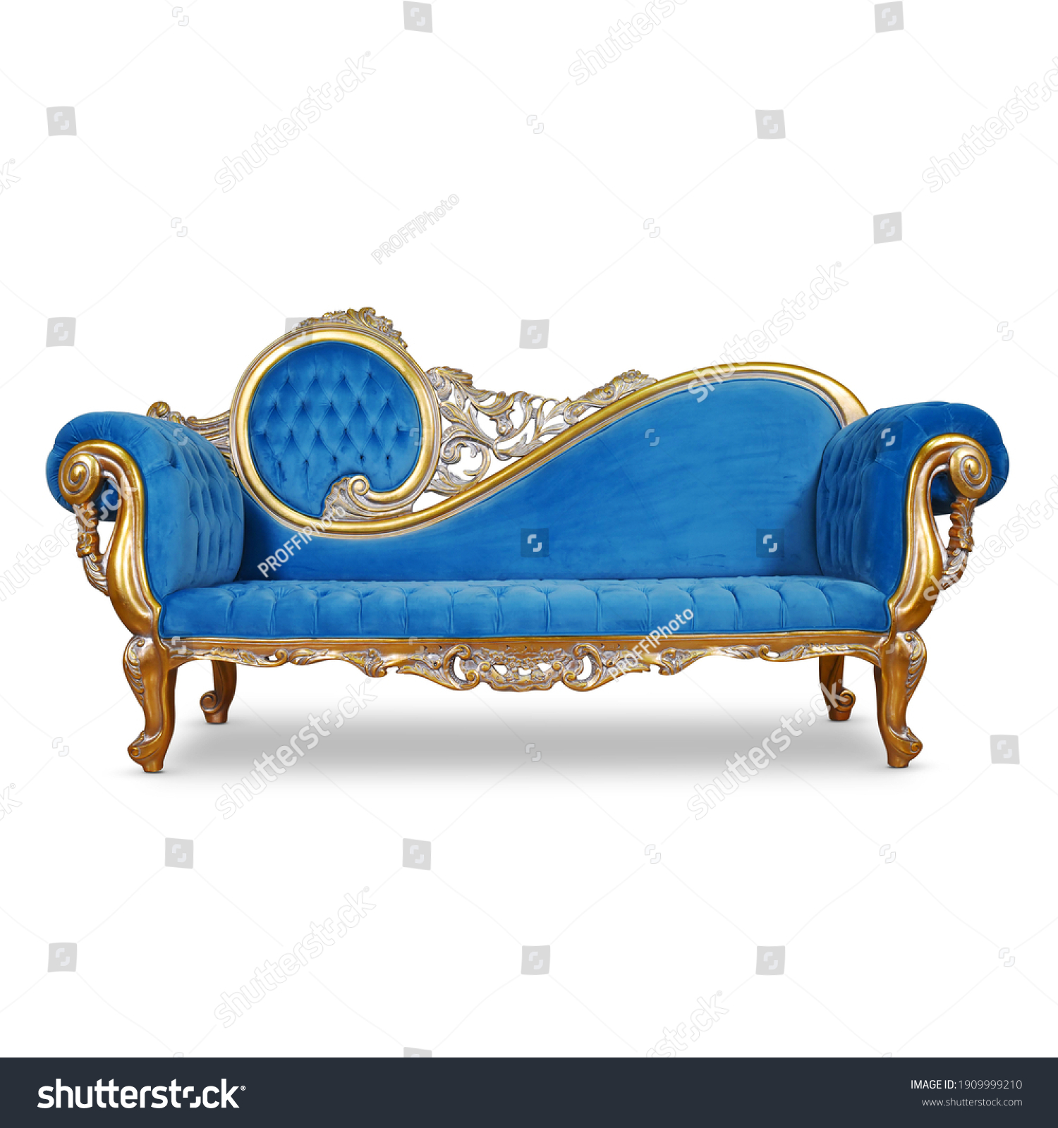 Tufted Blue Velvet Chaise Lounge Isolated. Antique Victorian Style Sofa Distressed Gold Giltwood Handcrafted Wooden Frame Giltwood Sweeping Scroll on Backrest. Upholstered Classic Interior Furniture #1909999210