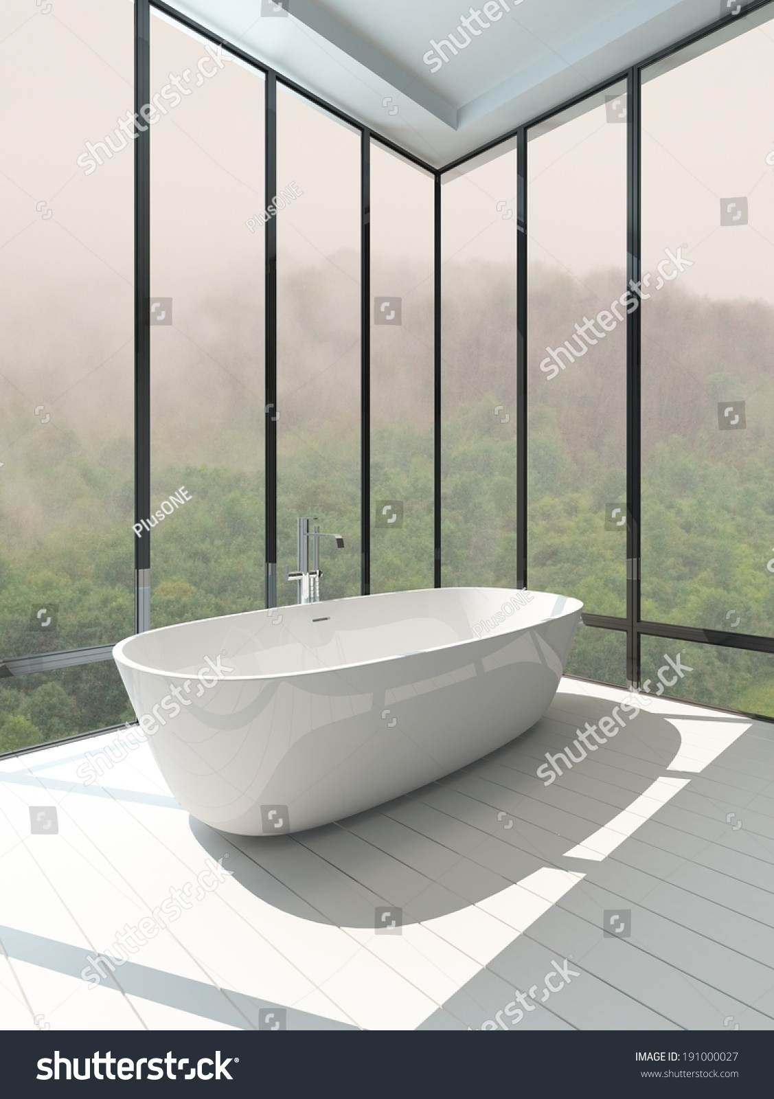 Picture Empty Room Interior Standalone Bathtub Stock Illustration 191000027    Shutterstock