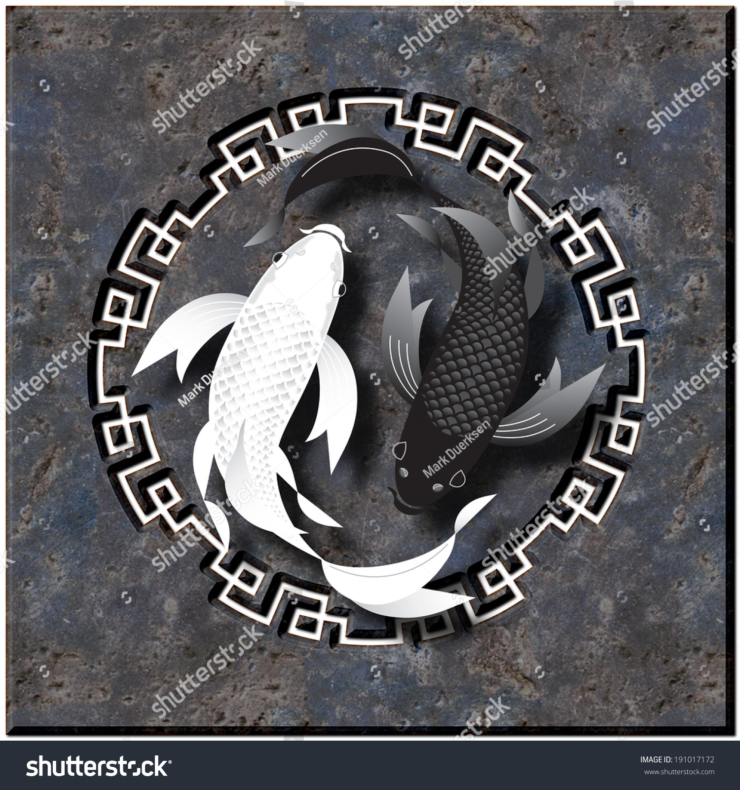 Stylized butterfly koi fish swimming over black granite background with cutout design