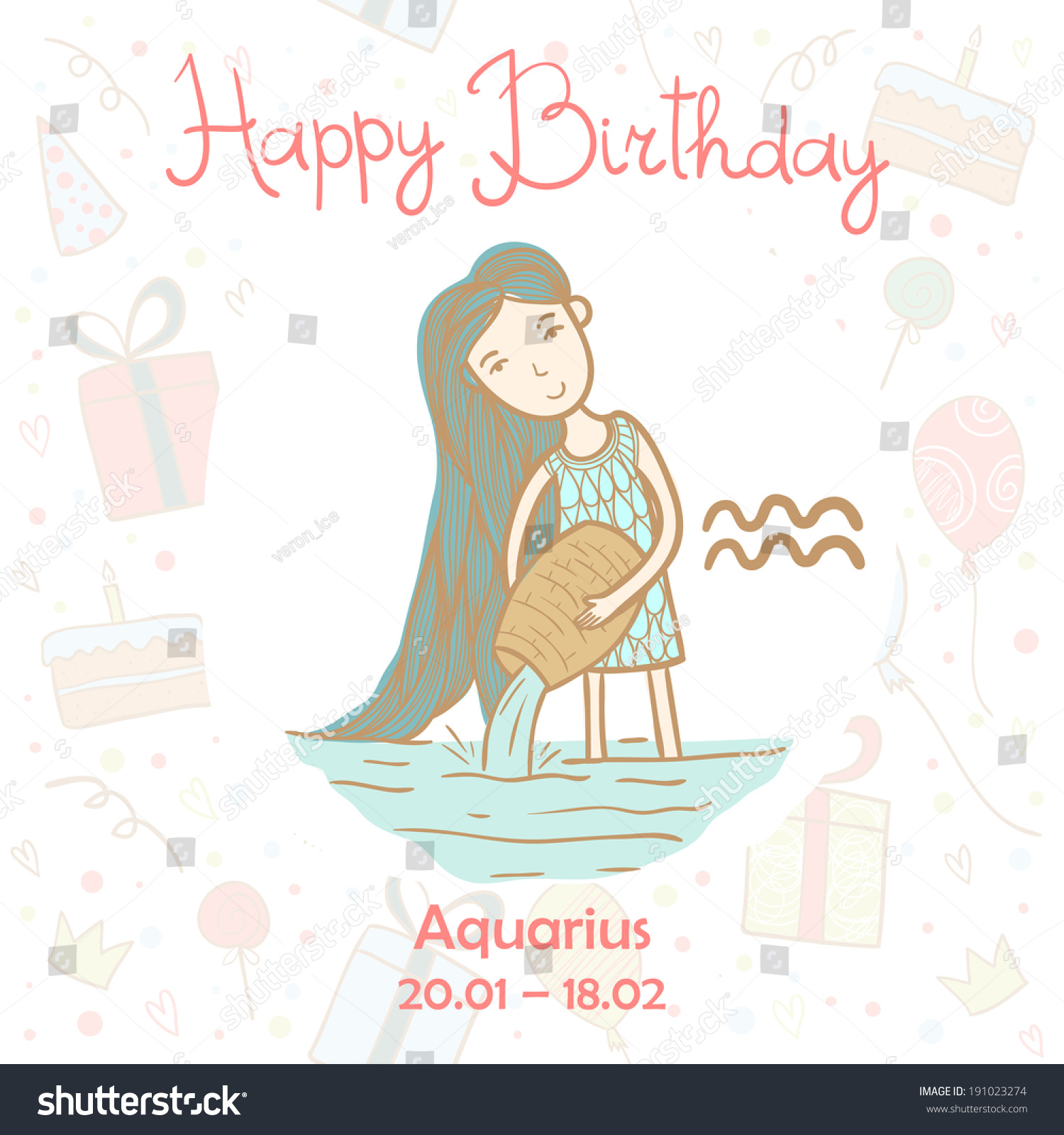 Happy Birthday Greeting Card With Cute Zodiac Sign