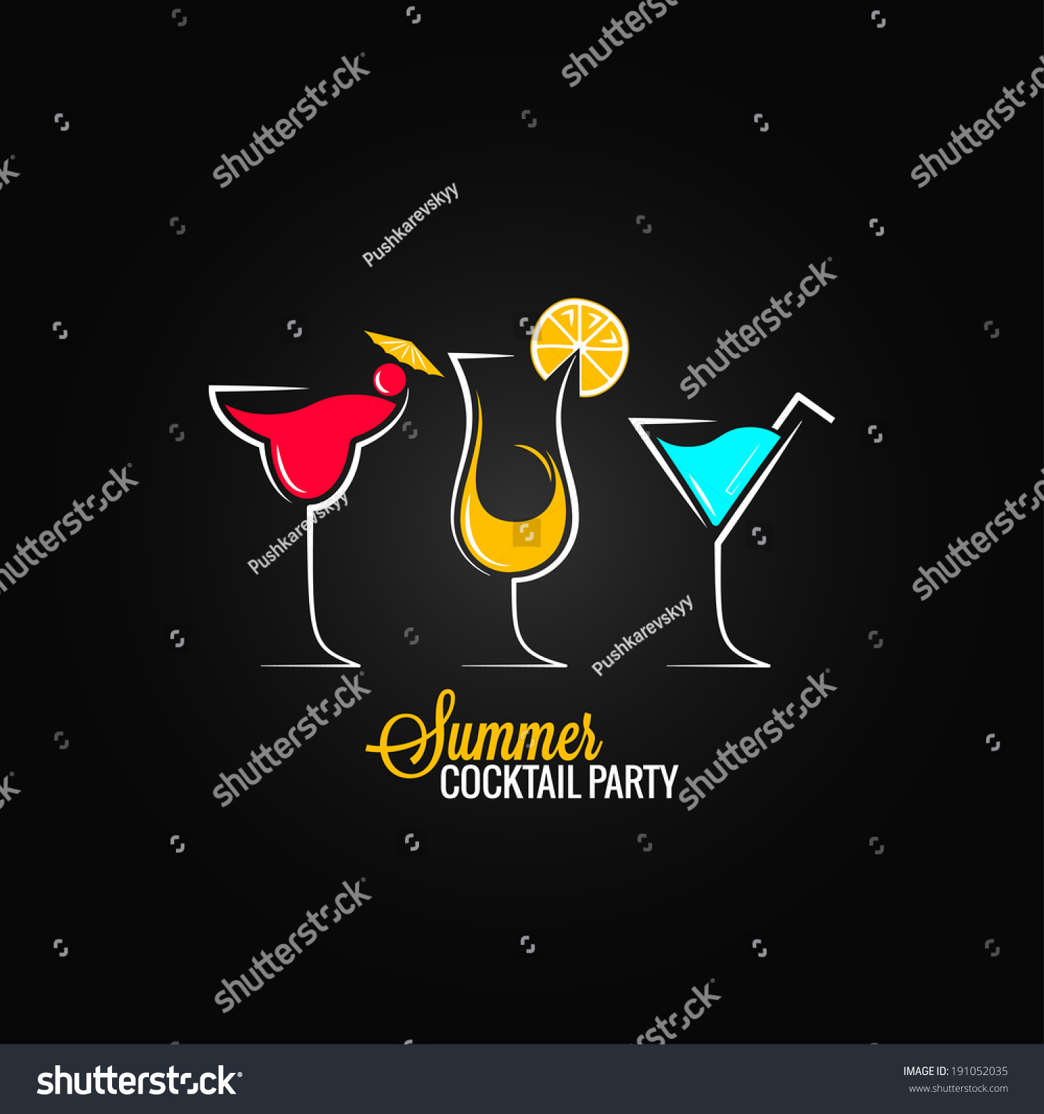 Cocktail Summer Party Design Menu Background Stock Vector ...