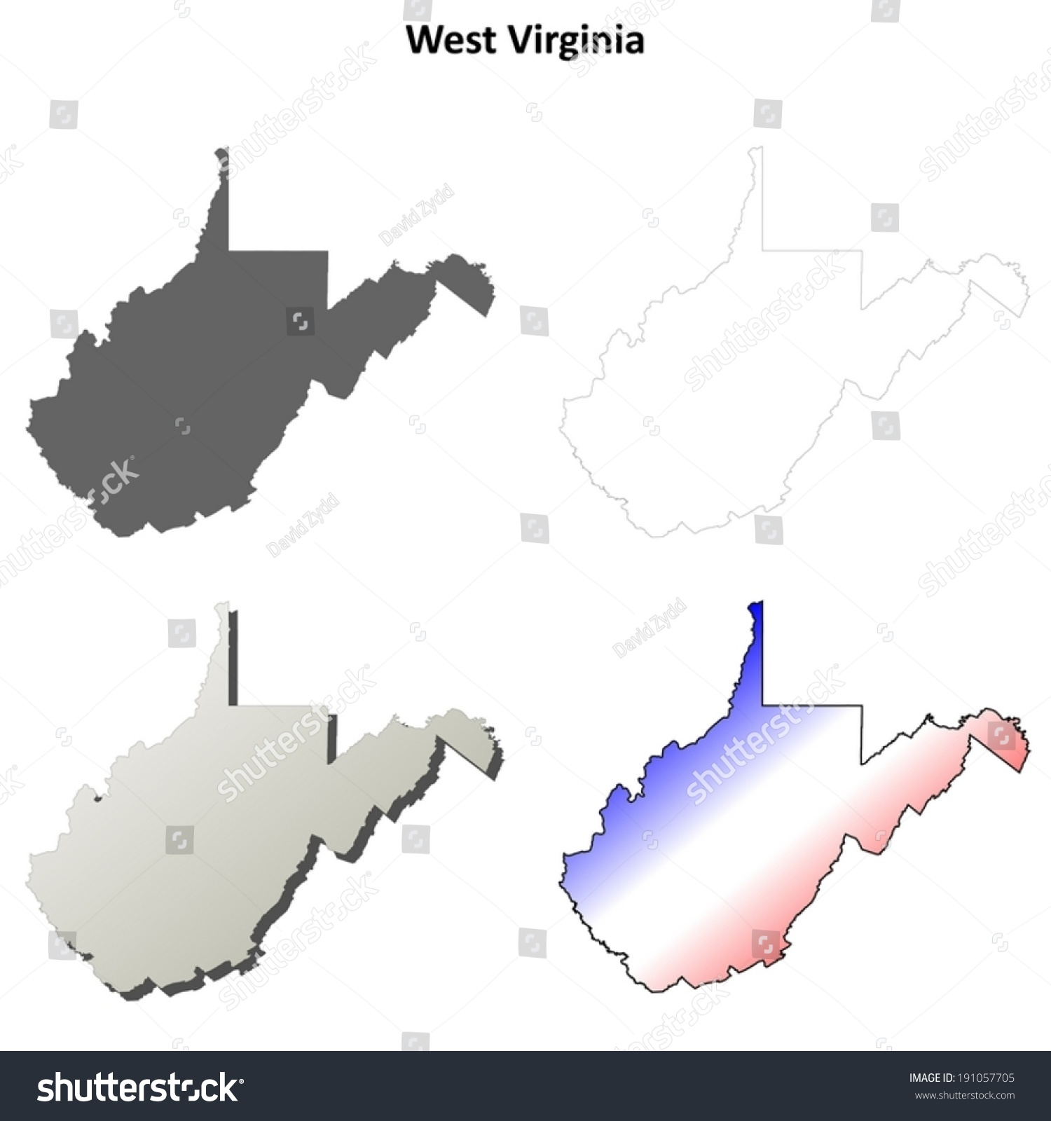 west virginia outline map set vector stock vector