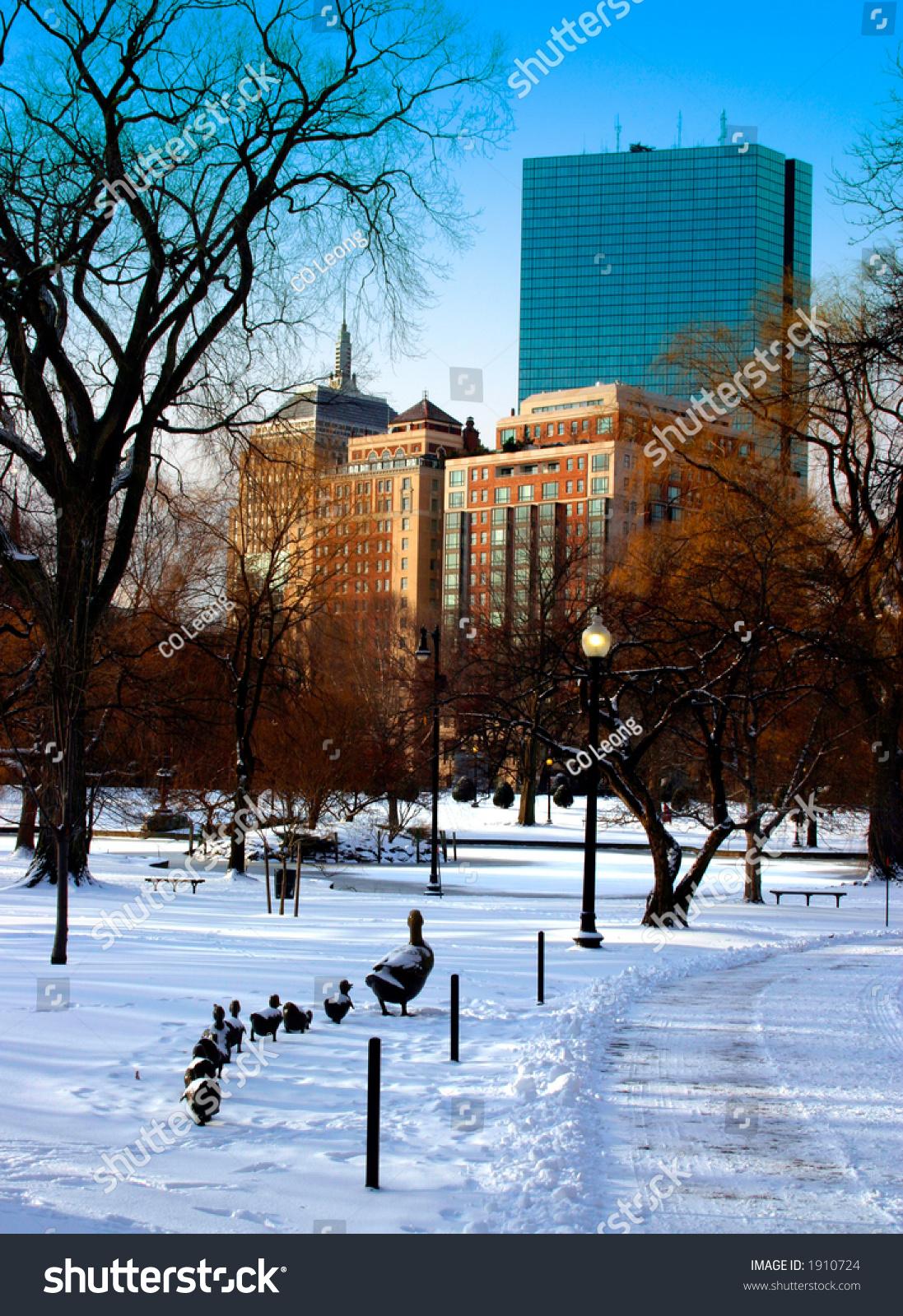 Boston Public Garden Winter Stock Photo 1910724 Shutterstock