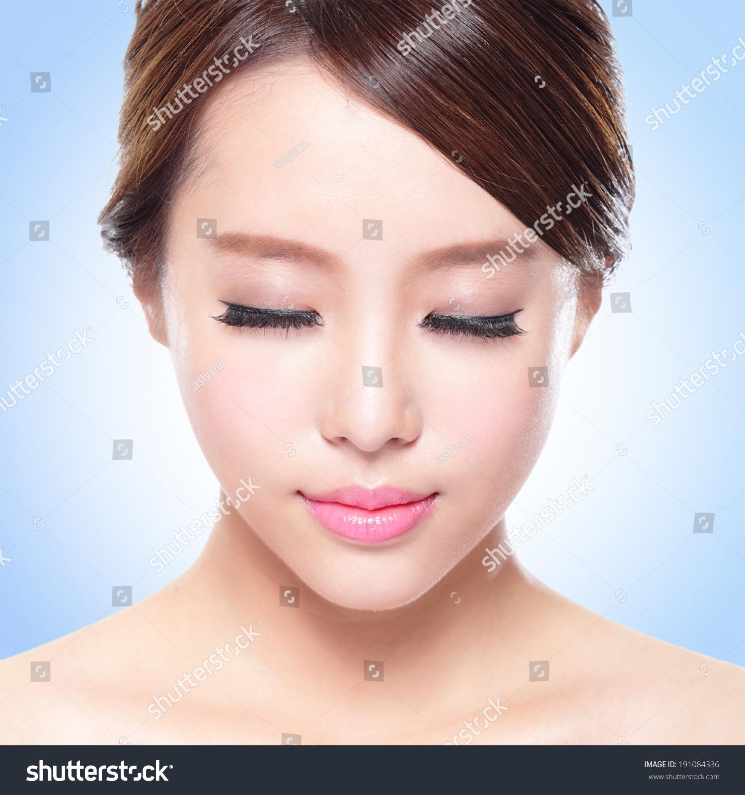 Close Attractive Skin Care Woman Face Stock Photo