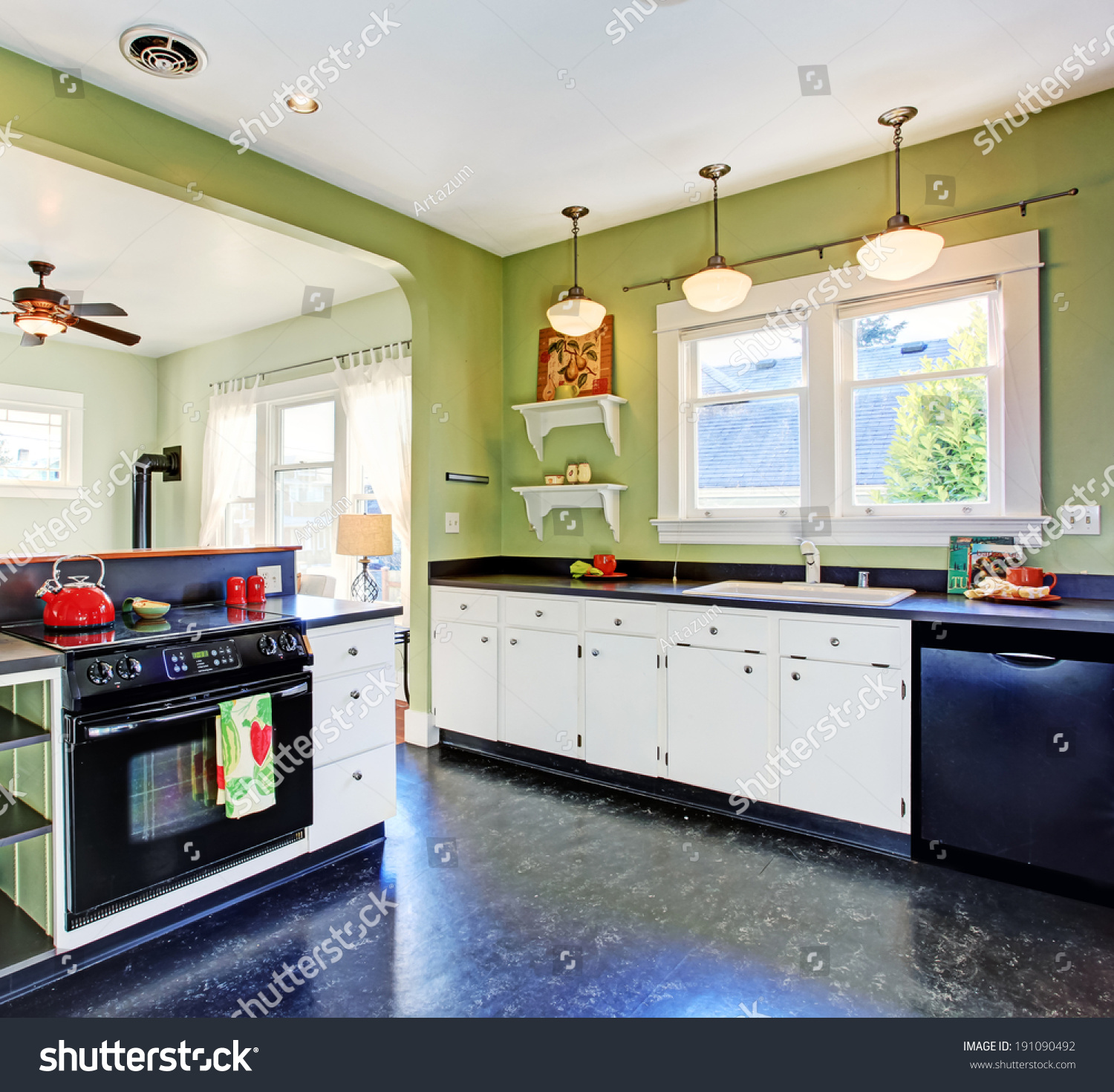 Kitchen Ro Green Walls White Cabinets Stock Photo & Image (Royalty