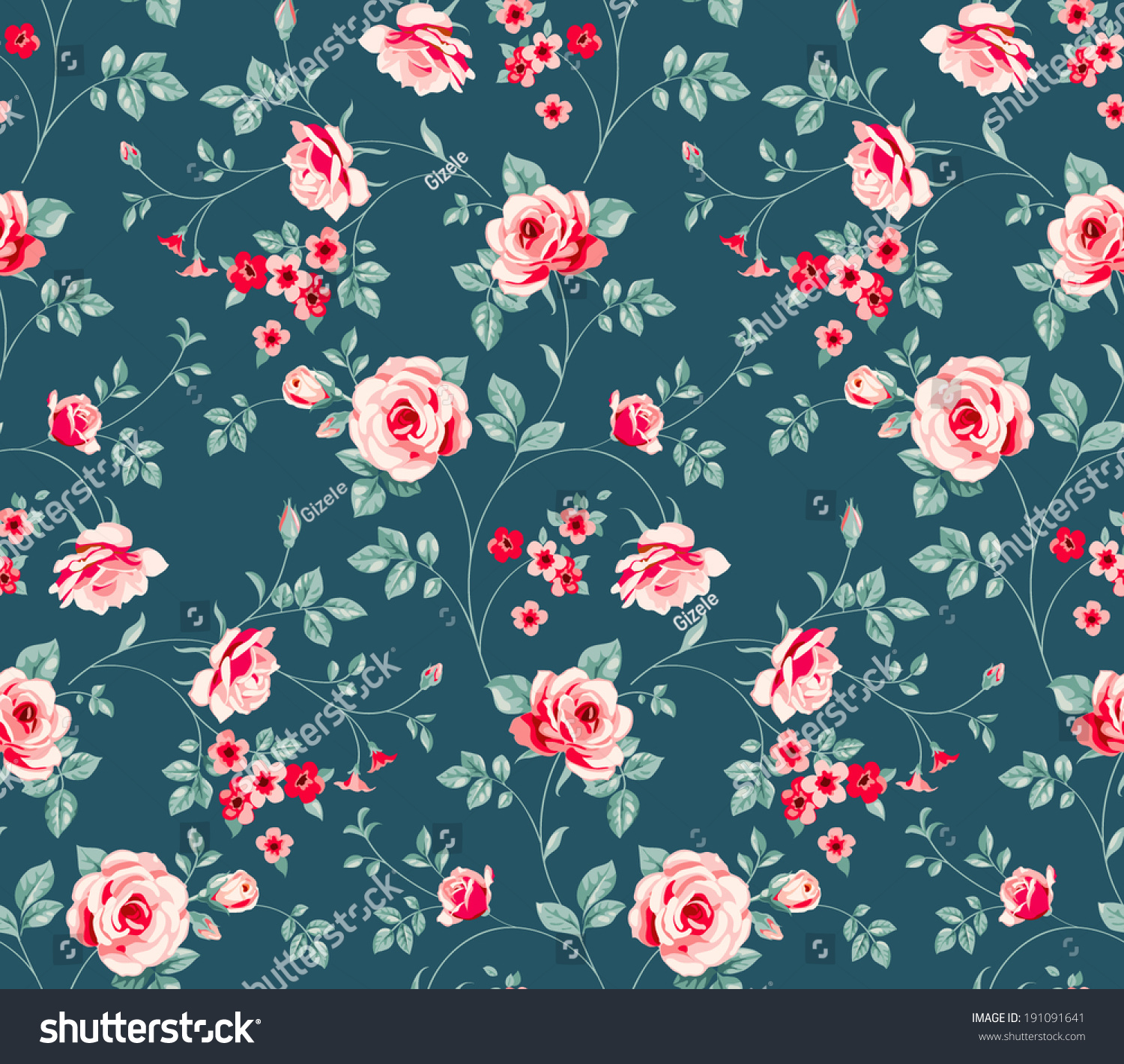 Seamless Floral Pattern Vintage Background Pink Stock Vector