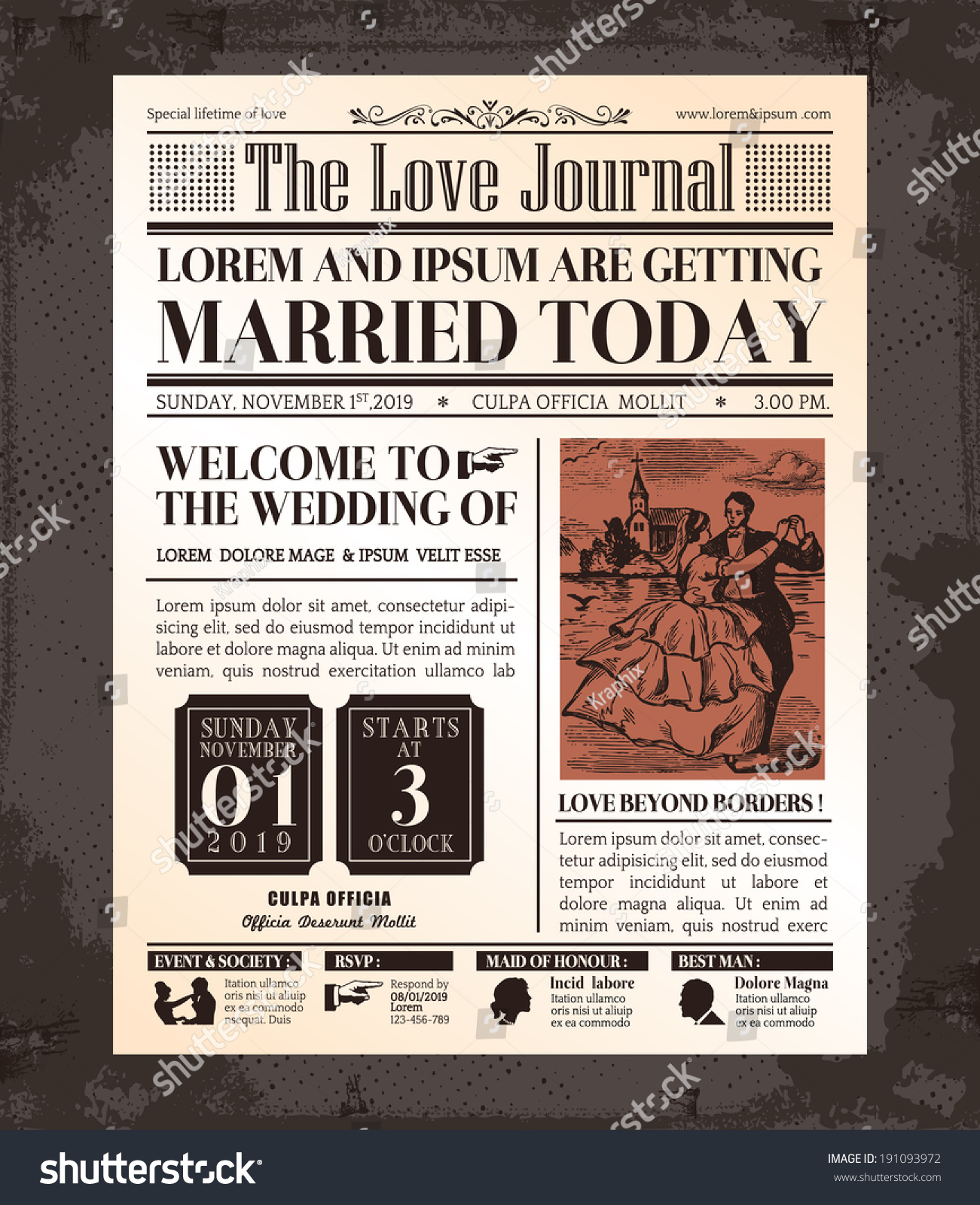 Newspaper Wedding Invitations  apply Ever Aer