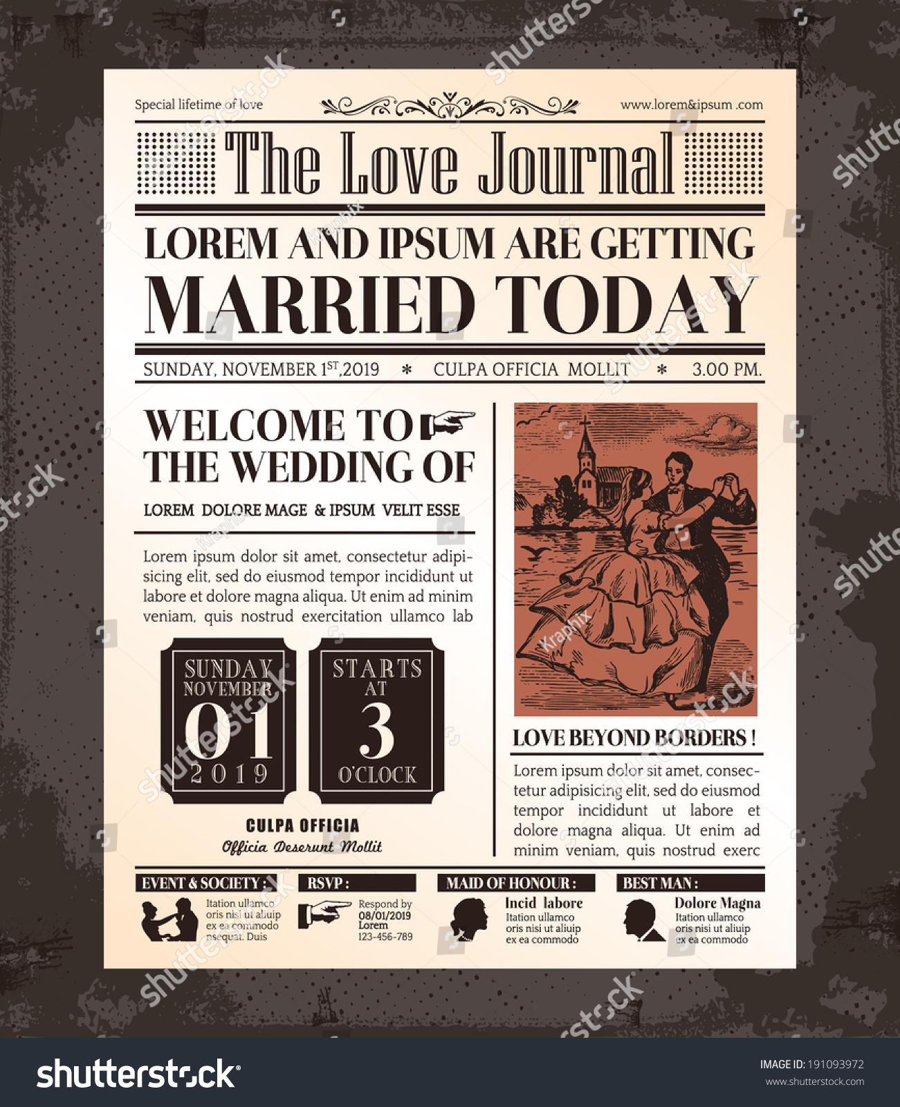 Vintage Newspaper Journal Wedding Invitation Vector Vector – Vintage Newspaper