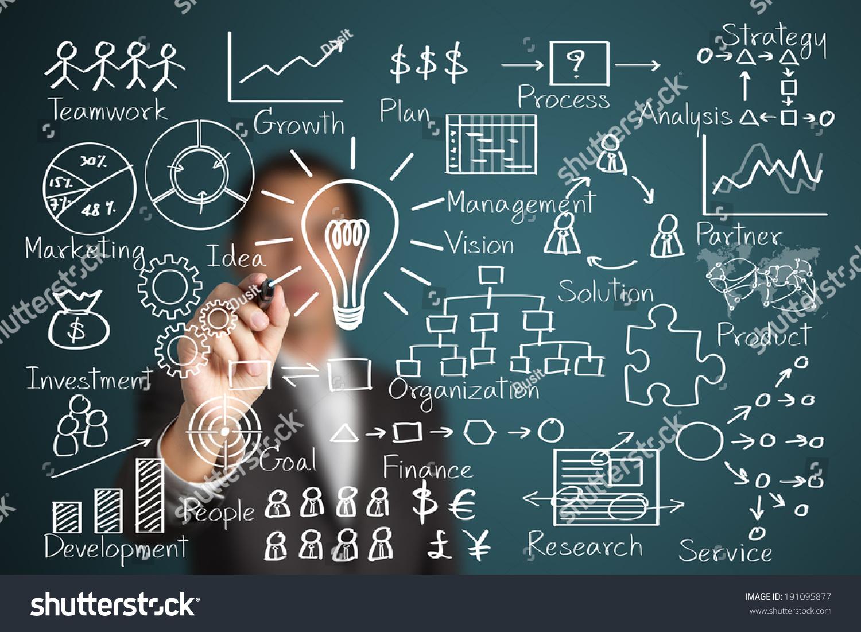 Businessman writing business idea concept stock photo