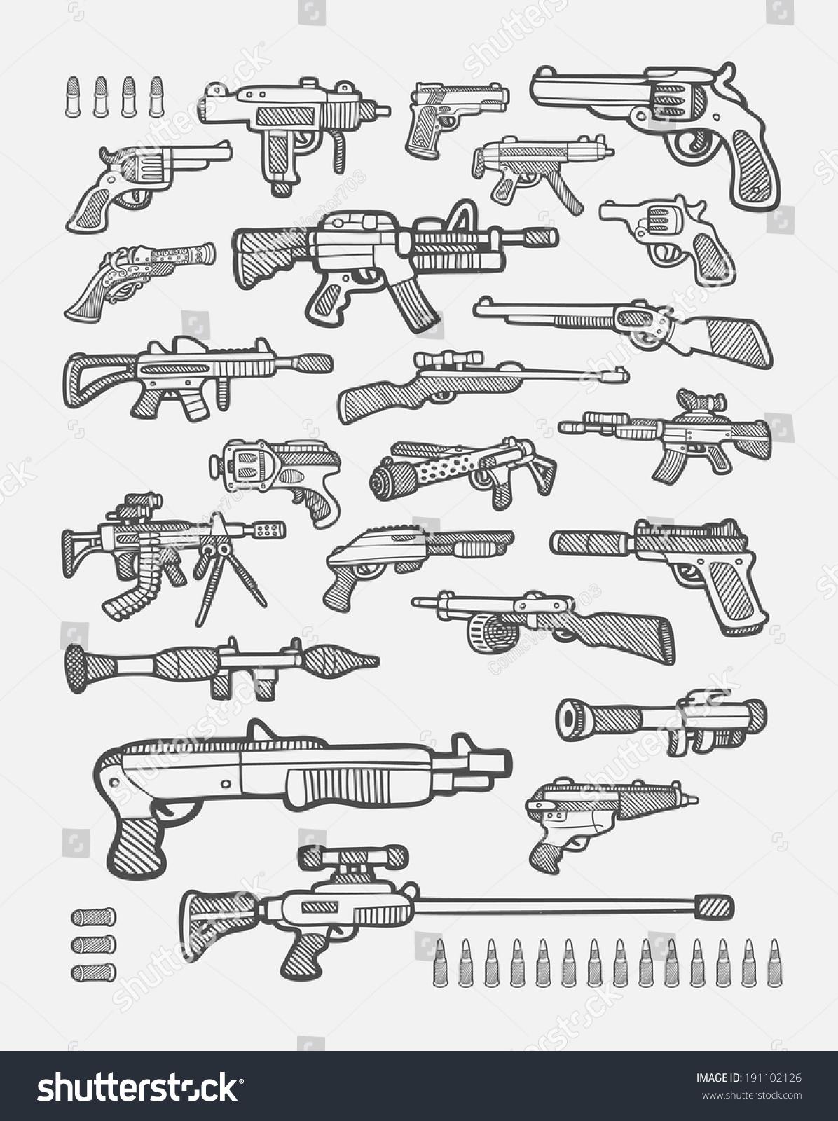 Set Gun Icons Sketch Pistol Machine Stock Vector Royalty Free