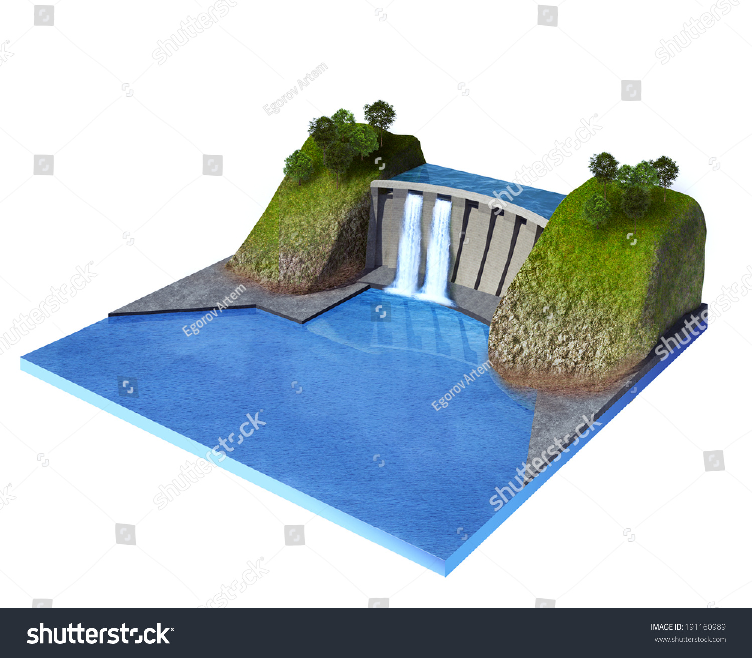 3d Rendered Illustration Hydroelectric Power Station Stock