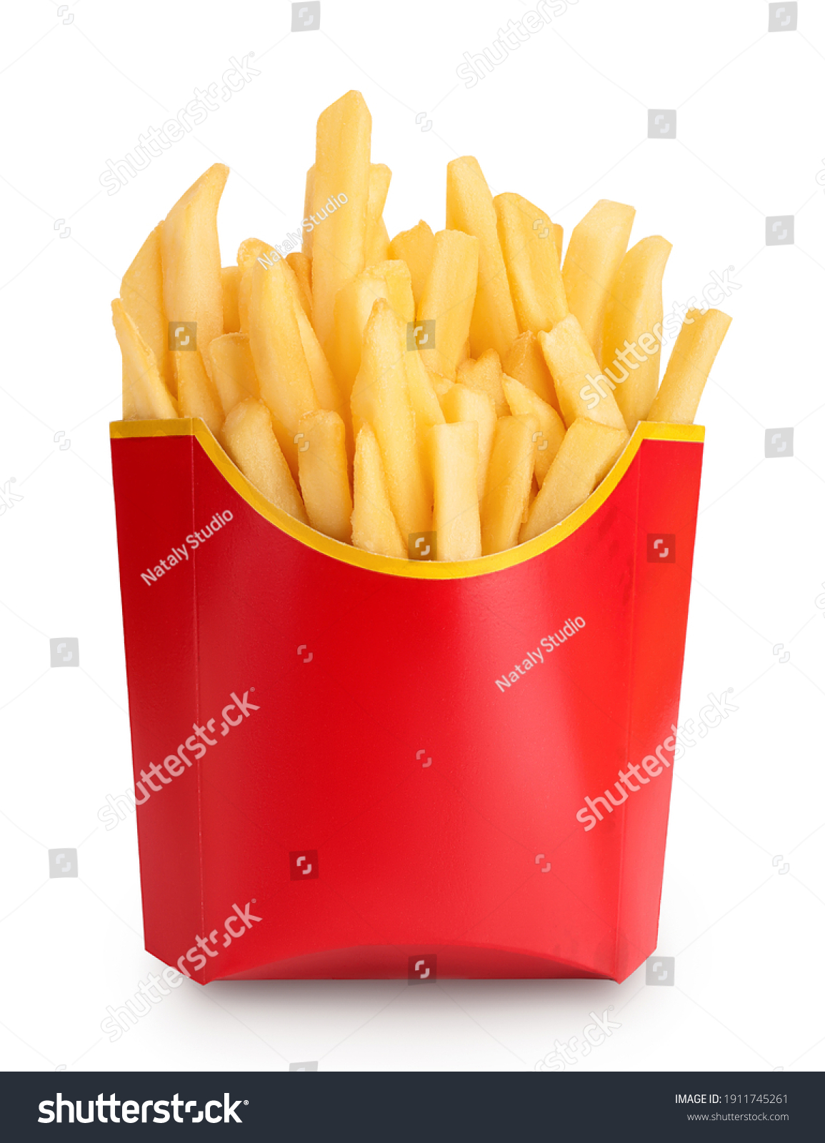 French fries or fried potatoes in a red carton box isolated on white background with clipping path and full depth of field #1911745261
