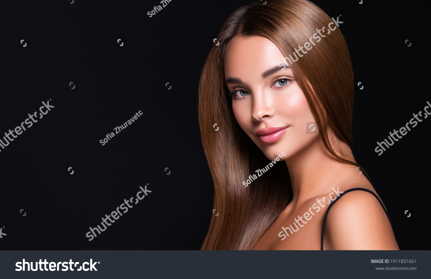 Beautiful model woman with shiny  and straight long hair. Keratin  straightening. Treatment, care and spa procedures. Beauty  girl smooth hairstyle #1911831661